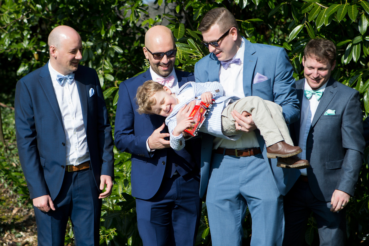 Fun groomsmen portrait wedding