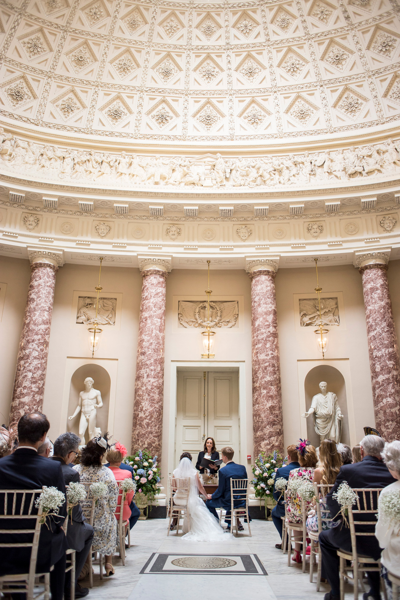 Ceremony room, bride, groom, marble,