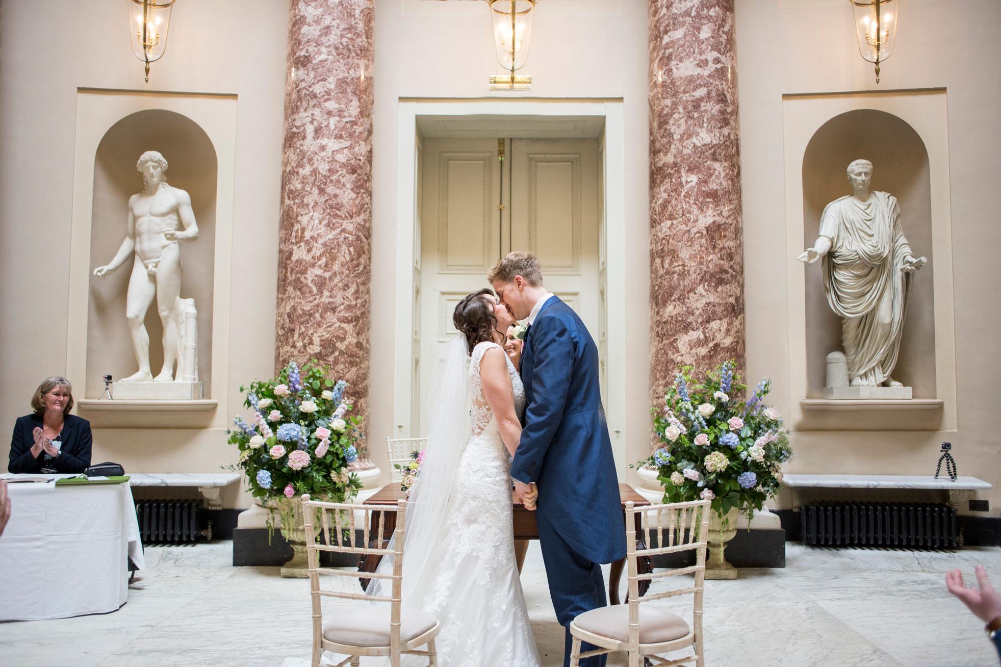 Ceremony, kiss, bride, groom,