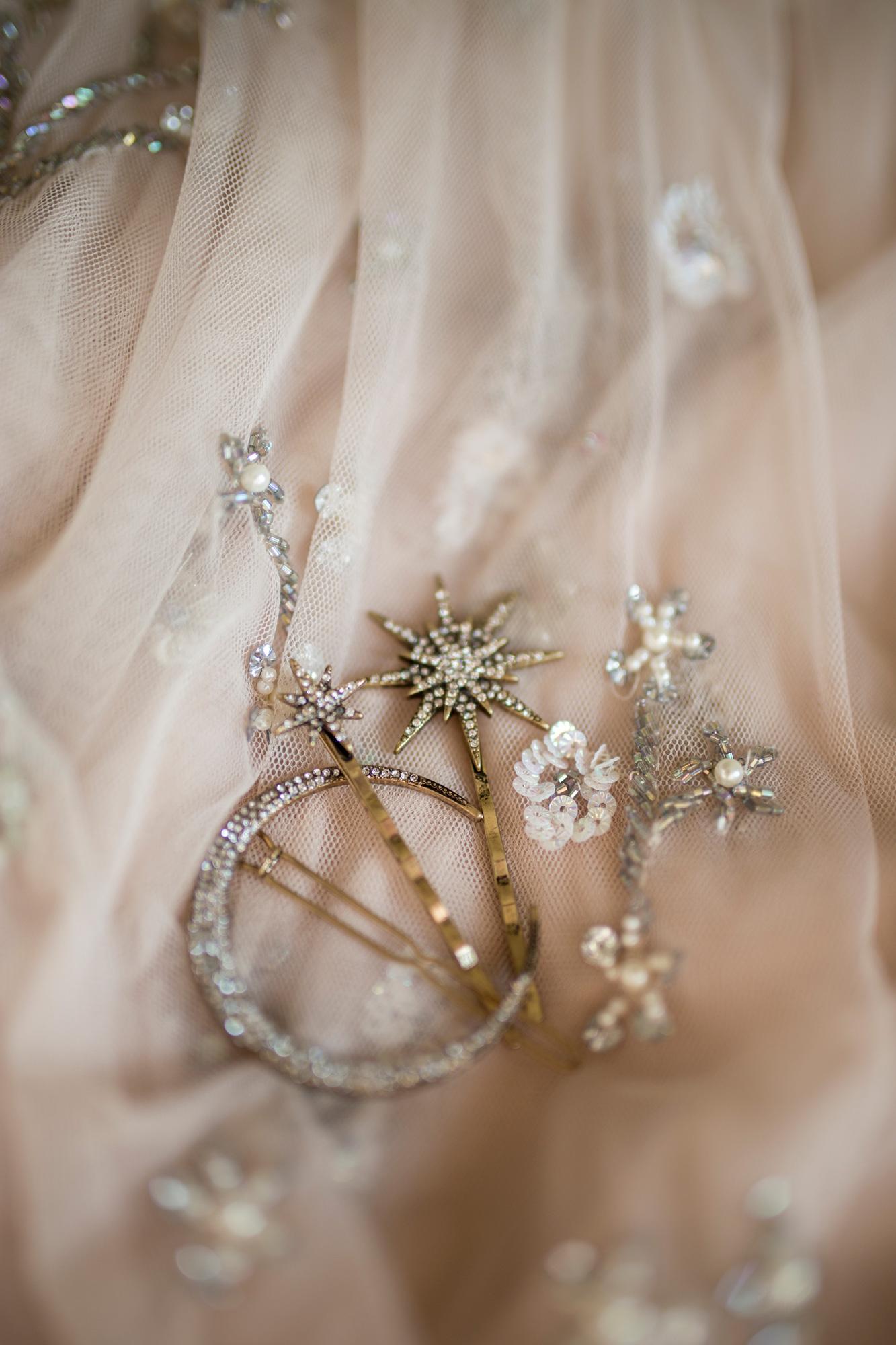 details, hair piece, blush pink, star, moon,