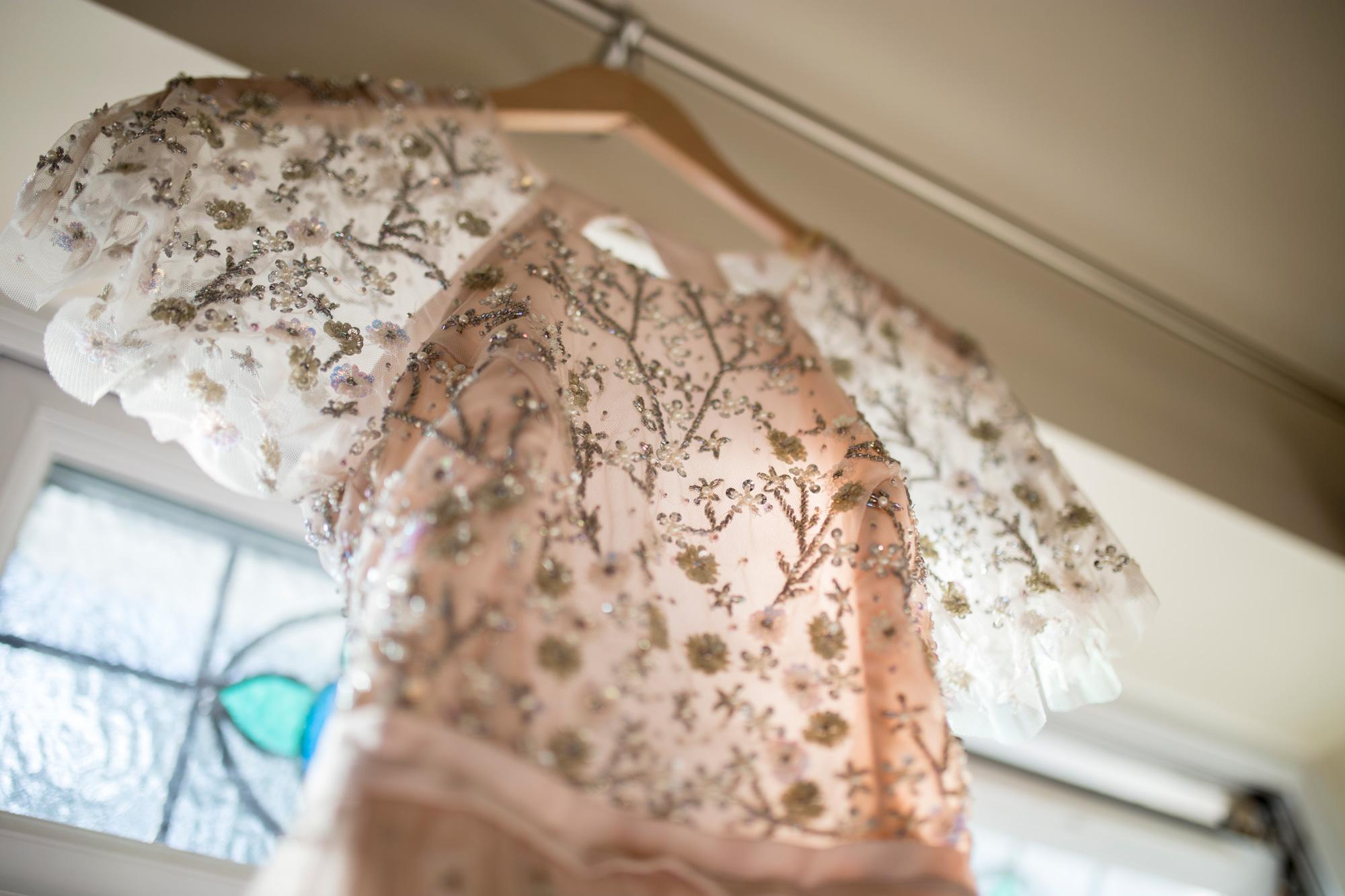 wedding dress, needle and thread, beaded dress, blush pink, wedding dress, alternative wedding dress,