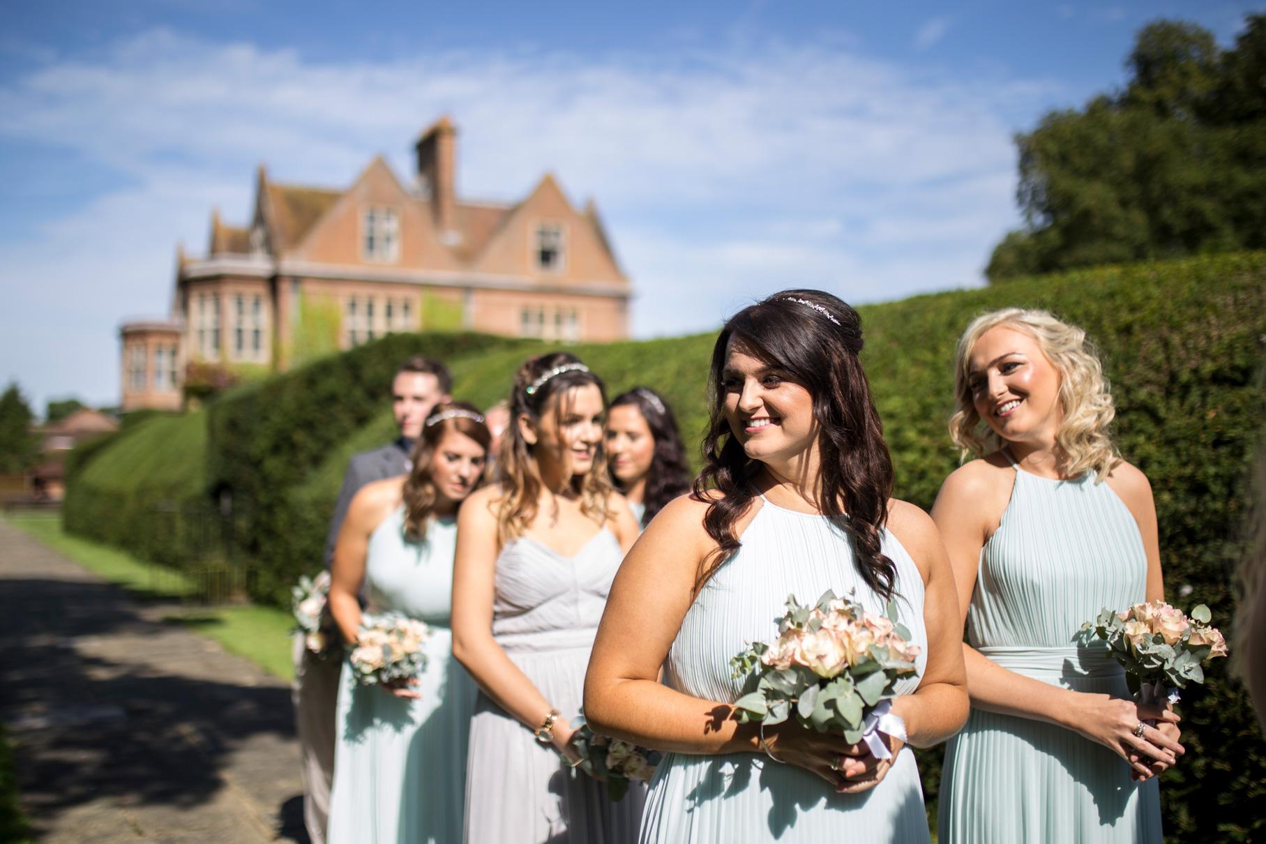 Bridesmaids, horwood house, pale blue, pastel dresses, outside ceremony,