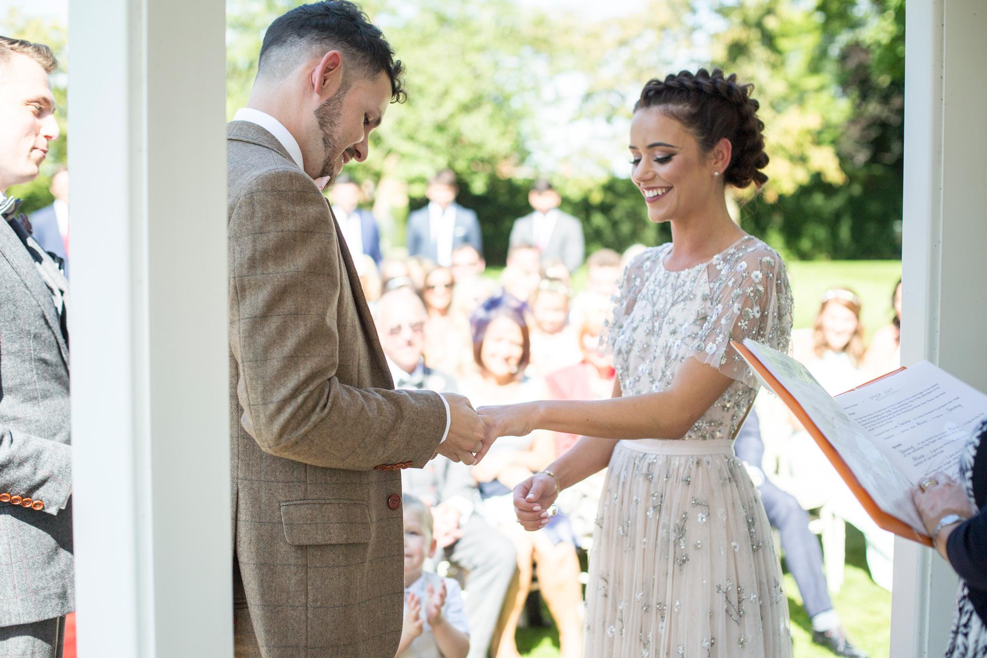 outside ceremony, rings, couple, bride, groom, Horwood House,
