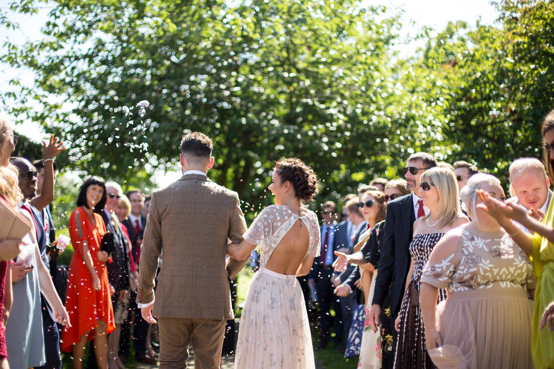 confetti, summer wedding, luxe wedding, wedding dress,