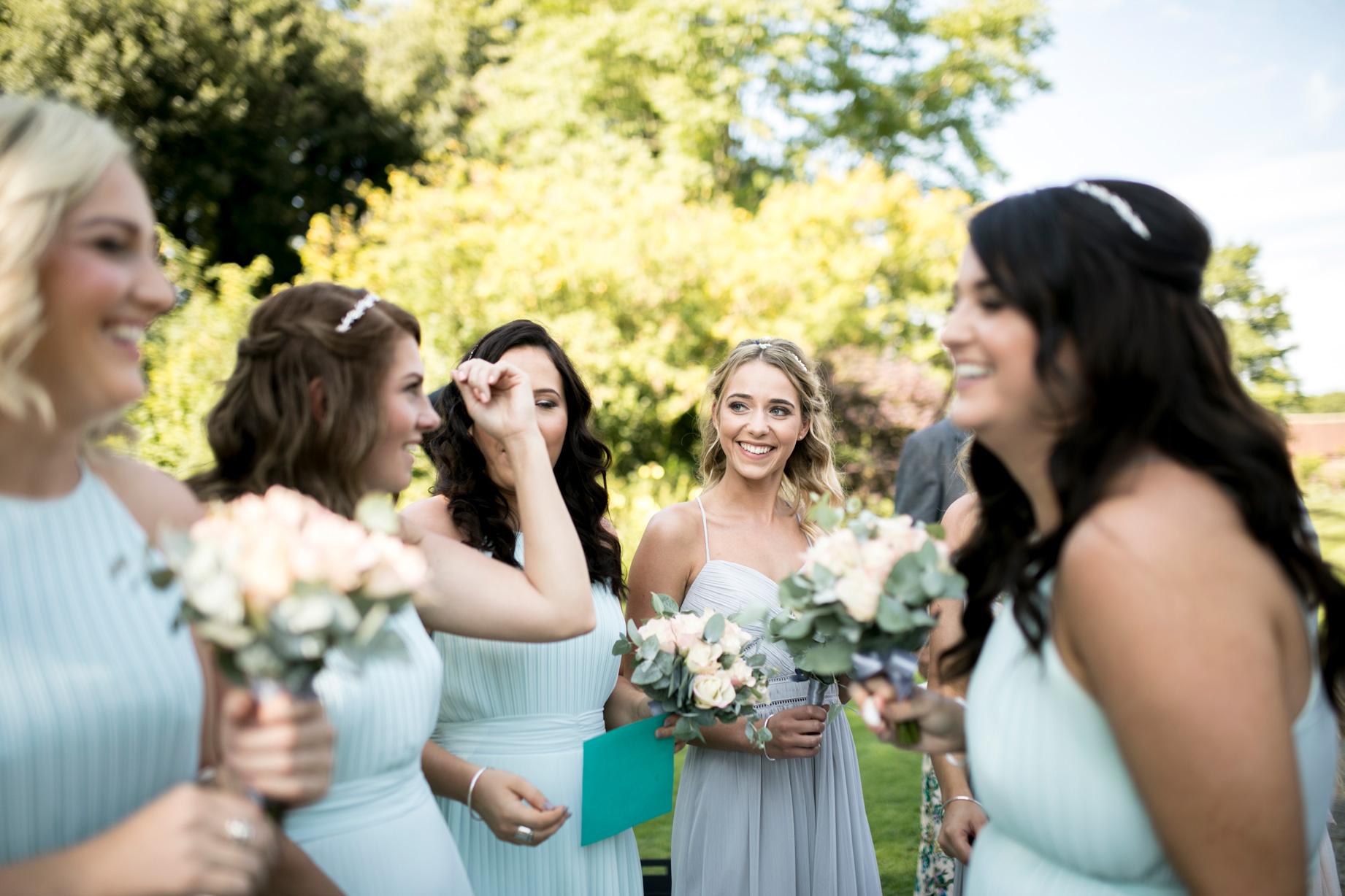 bridesmaids, blue dresses, girls, happy, pastel colours,