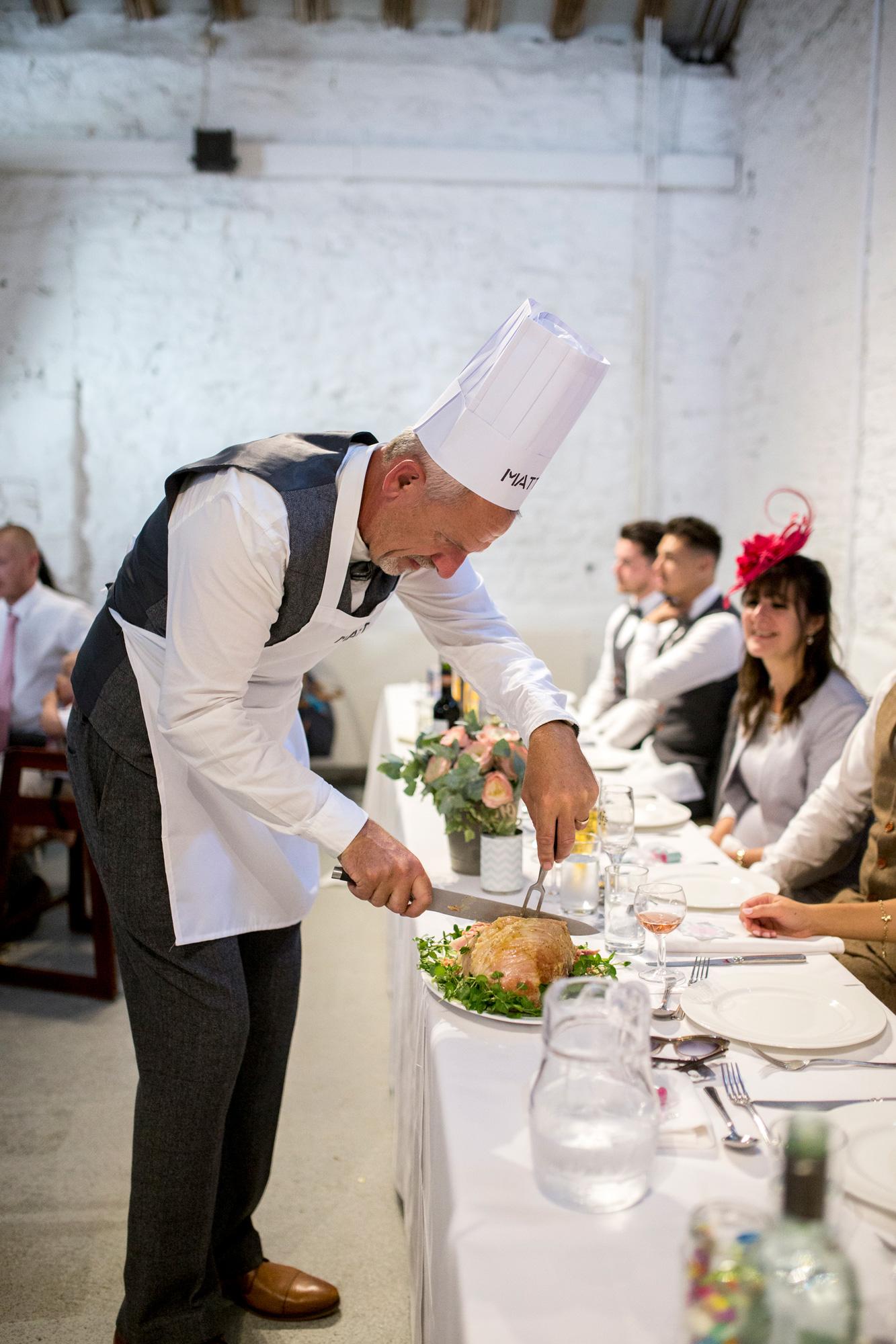 Chef, wedding party, wedding reception, Crook Barn,