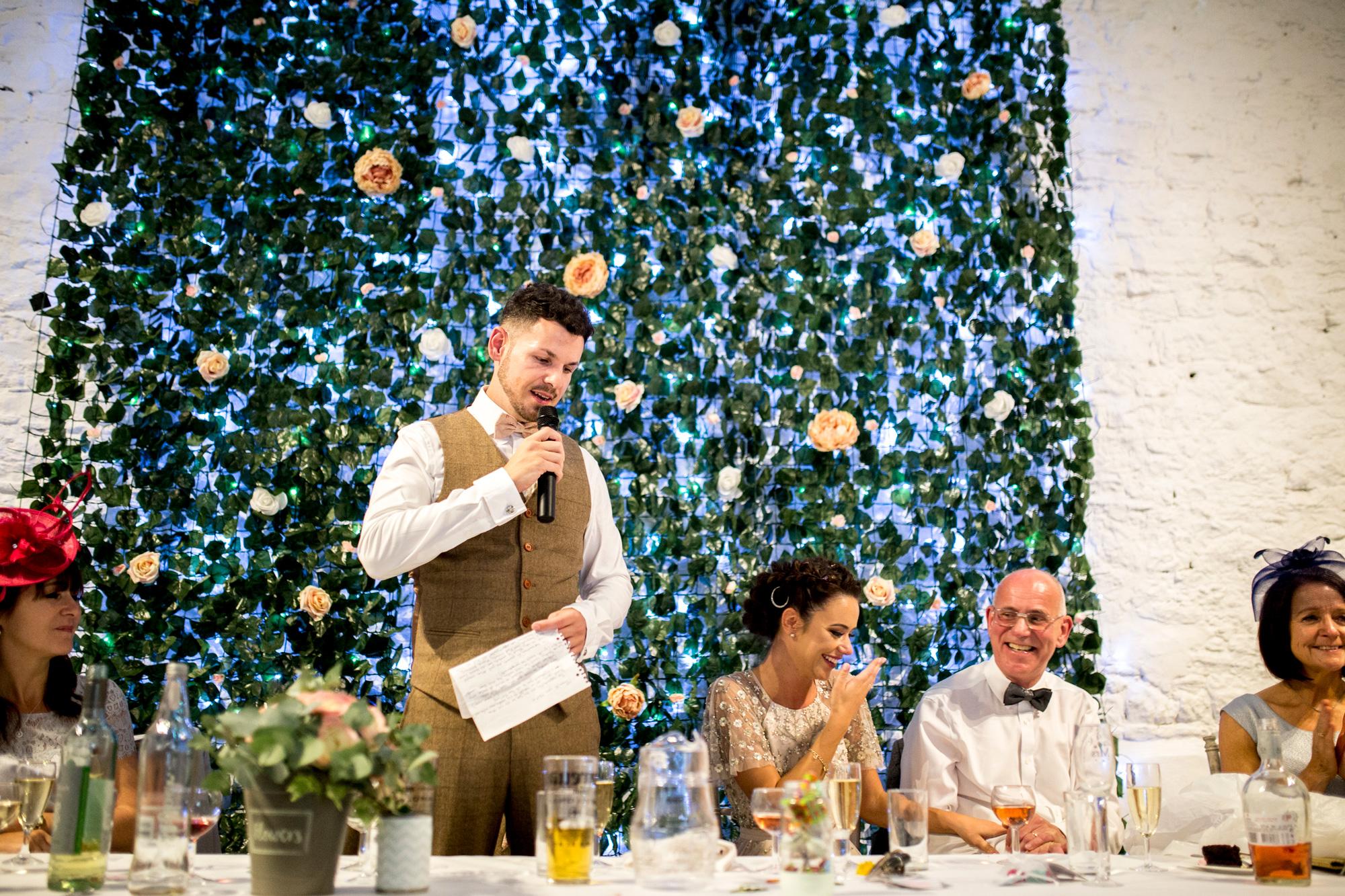 speeches, wedding reception, Buckinghamshire Wedding, Groom,