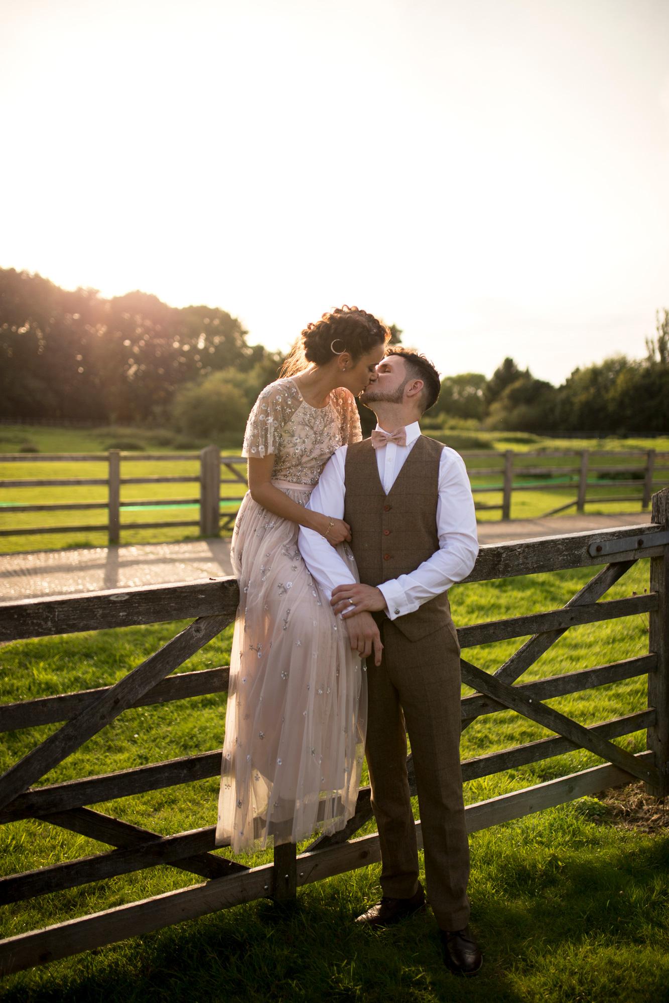 Couple, Kissing Gate, Happy, Wedding Day, Sunset, Bedfordshire Wedding,