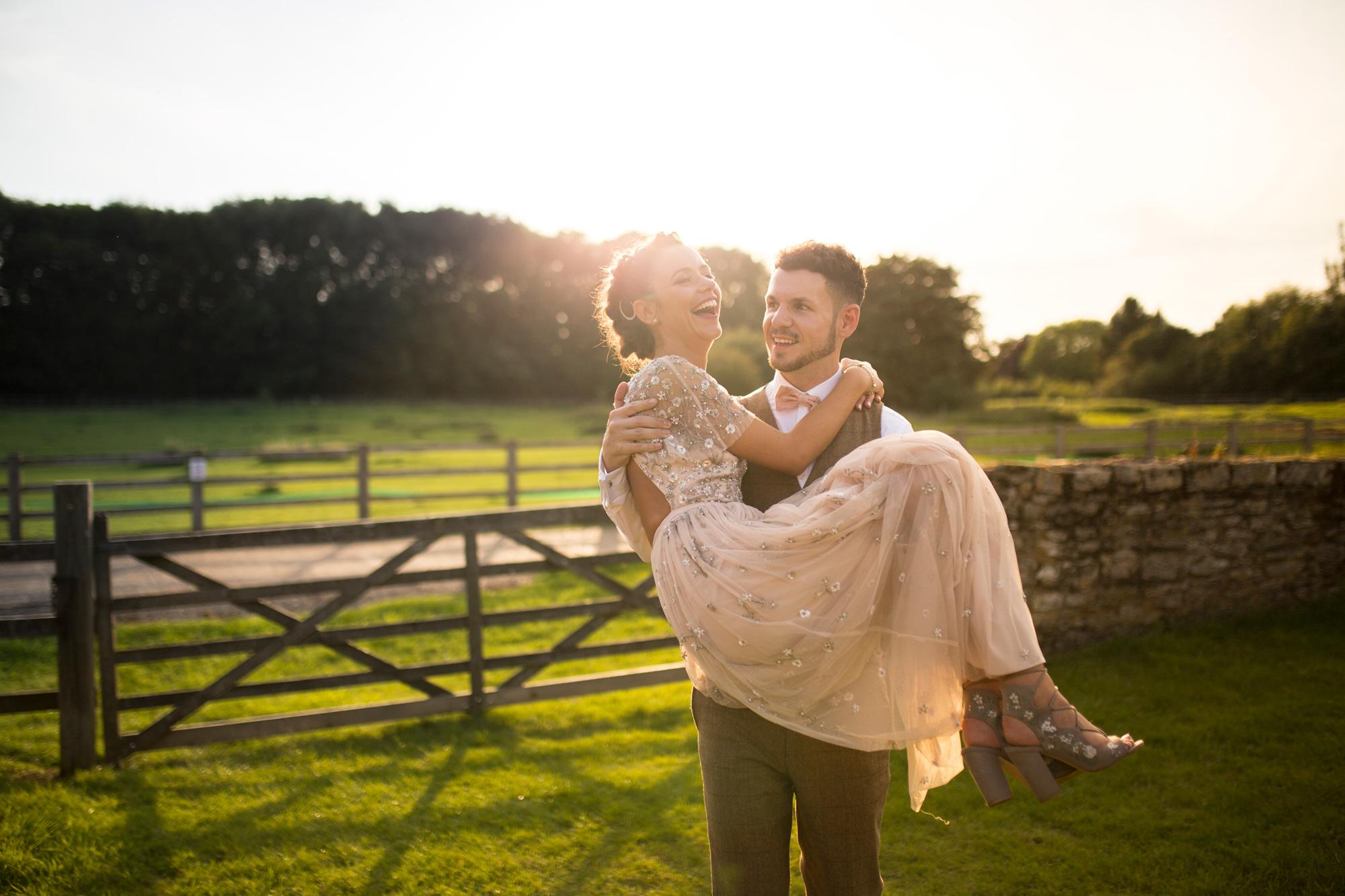 Sunset, Couple, Bride, Groom, Kissing Gate, Wedding Day, Buckinghamshire Wedding,
