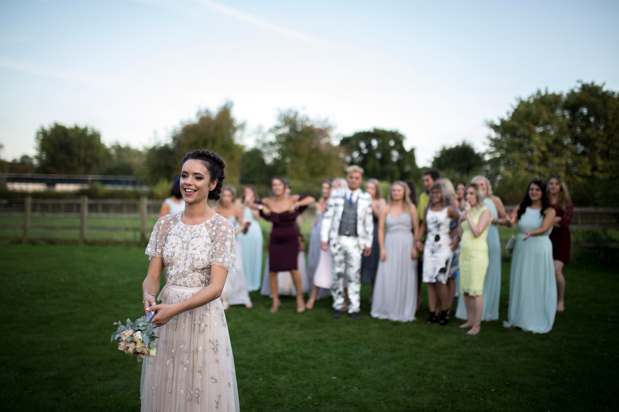 Toss The Bouquet, Bride, Evening, Bedfordshire Wedding,