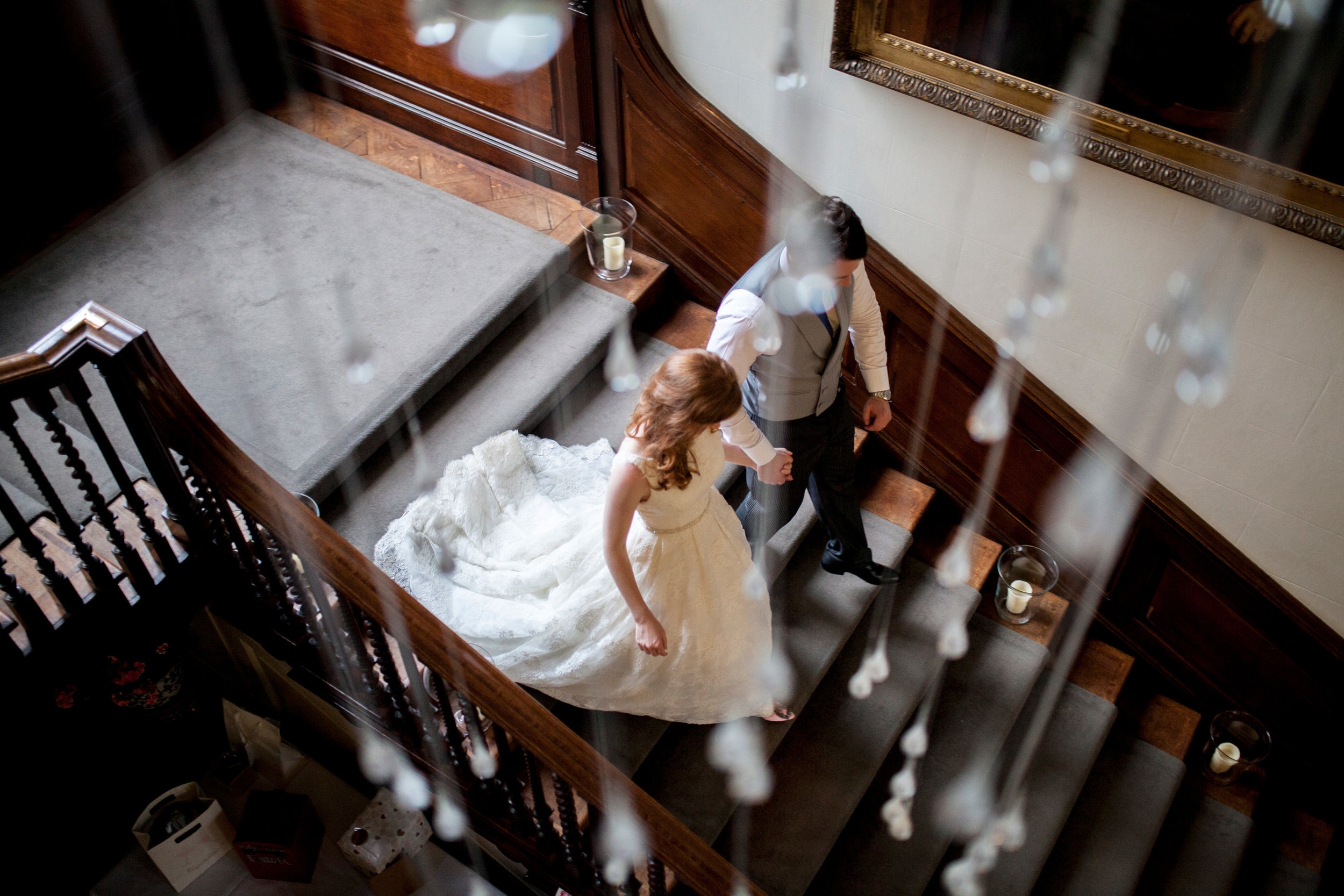 Wedding Breakfast, Couple, Stairs, Chicheley Hall,