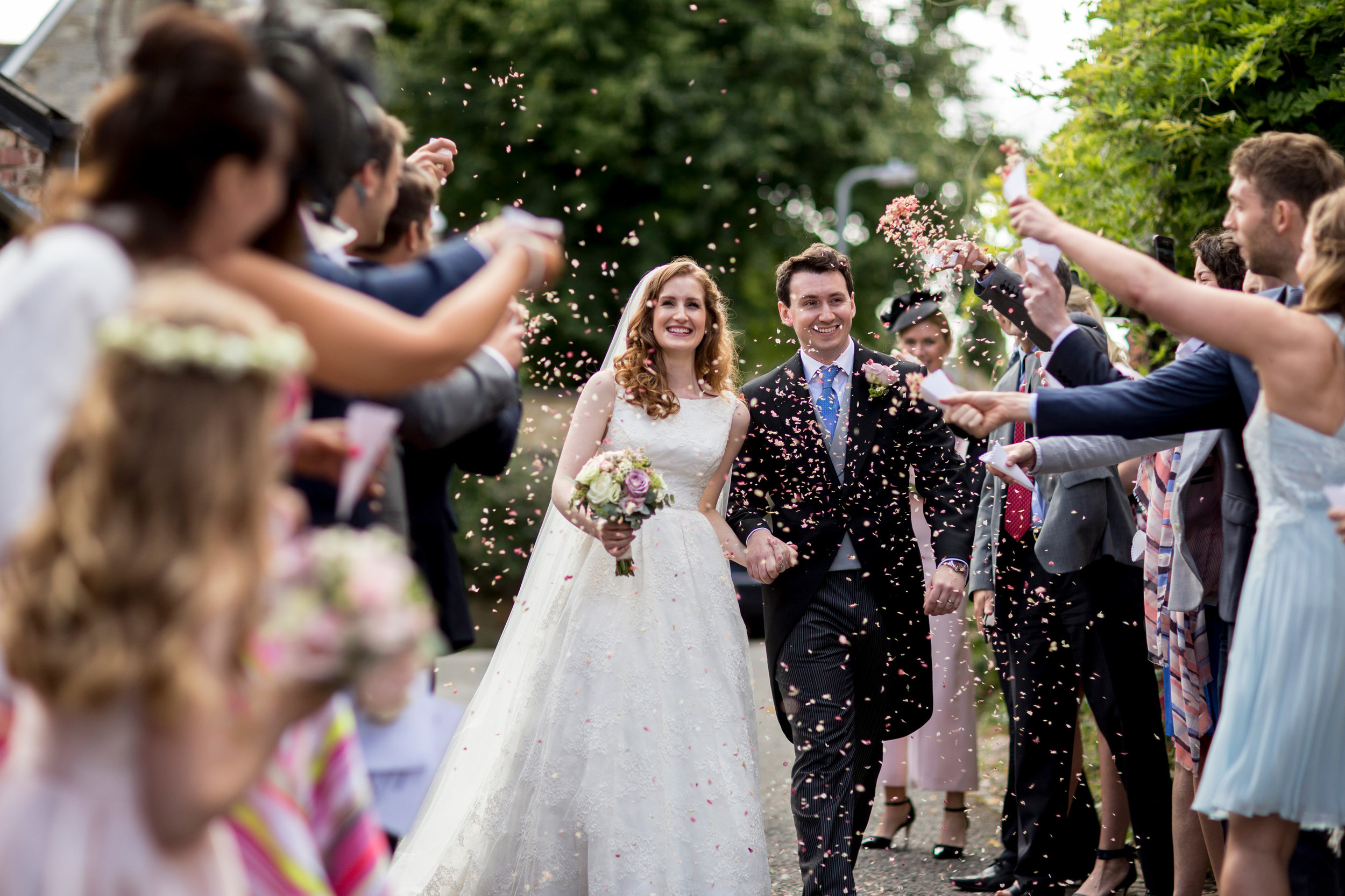 Confetti, Bride and Groom, Happy Couple, Chicheley Hall,