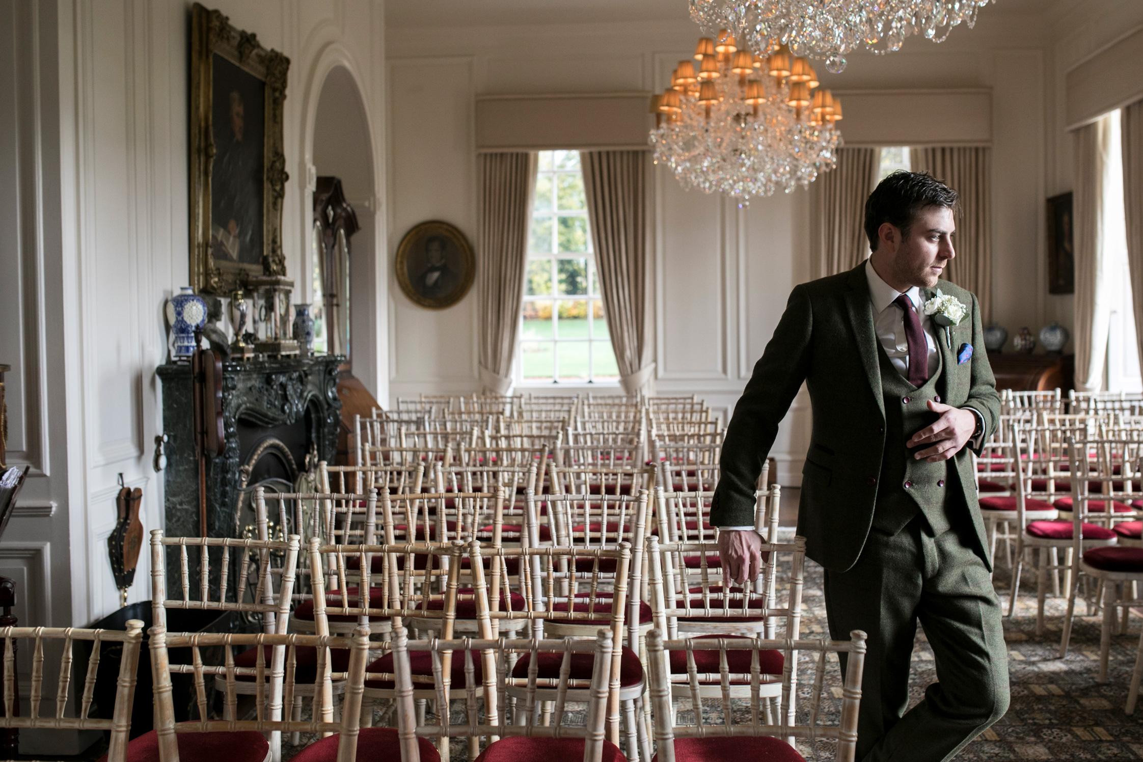 Groom, Country House Wedding, Hinwick House, Ceremony,