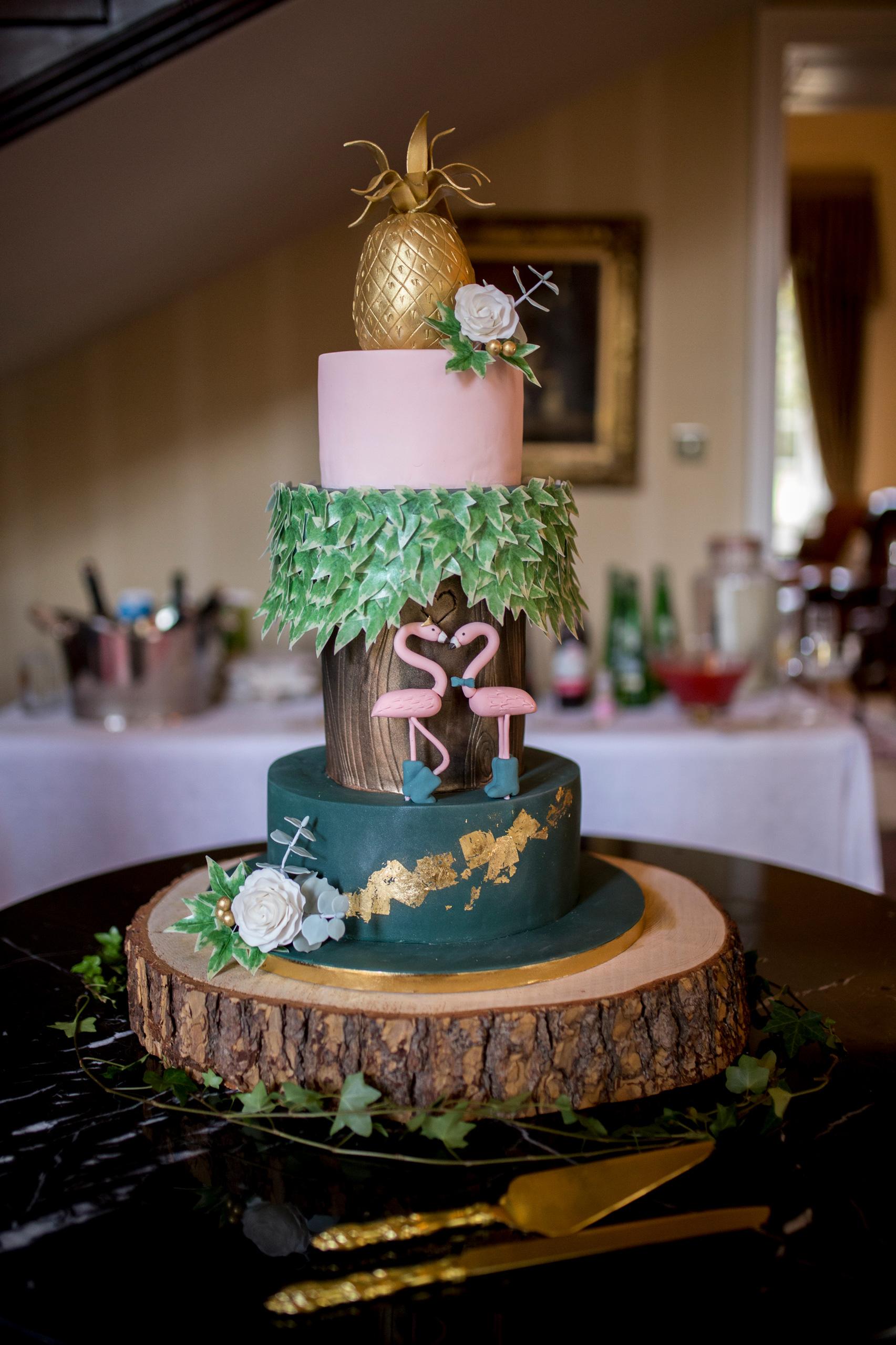 Wedding Cake, Flamingo Cake, Alternative Wedding Cake, Pineapple Wedding Cake,