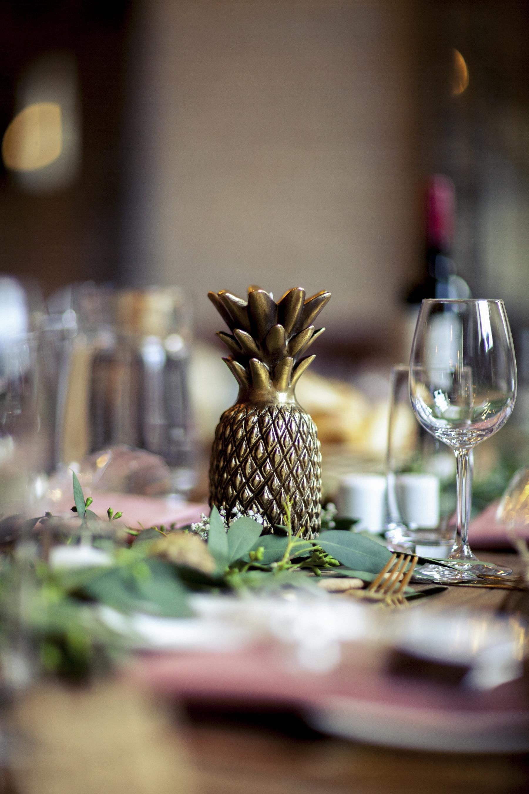 Pineapple, Centre piece, table scape, autumn Wedding,
