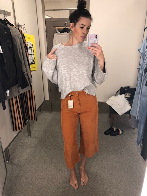 Corduroy Trouser : Top Shop (TTS) Crop Sweater is Top Shop but there isn't a link for it on the site. I'm guessing its an in store only item. But it's amazing a soft and has button detail on each side.