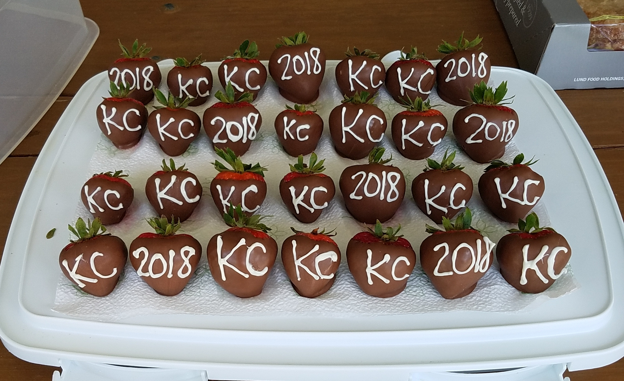Chocolate strawberries cpmpliments of Theresa Cutler, daughter of Ray and Rosie Peitz.