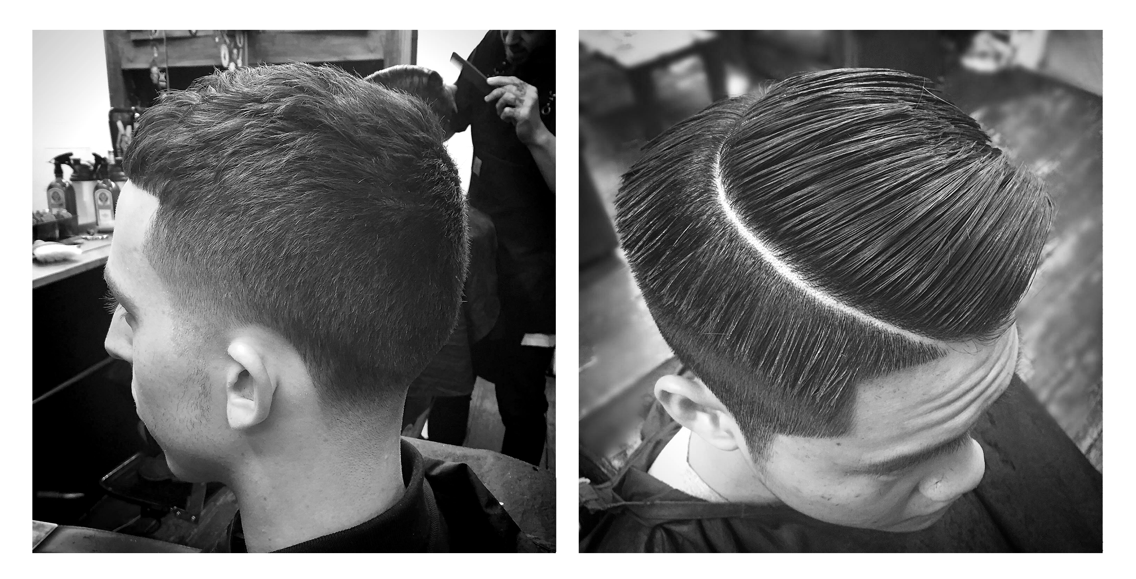 1.  Very low taper (0-3) on the sides and nape of the neck.. Cropped short on top with a blunted fringe just below the hairline.. Styled w/ a matte clay and ruffled for texture.    2.  Clipper over comb on the back and sides tapered to around a 1, I find it easier to create the wedge with the comb rather than a guard.. Blunt cut on top with a curved hard part.. Dried with medium heat and styled w/a pomade to give a slick and shiny look.