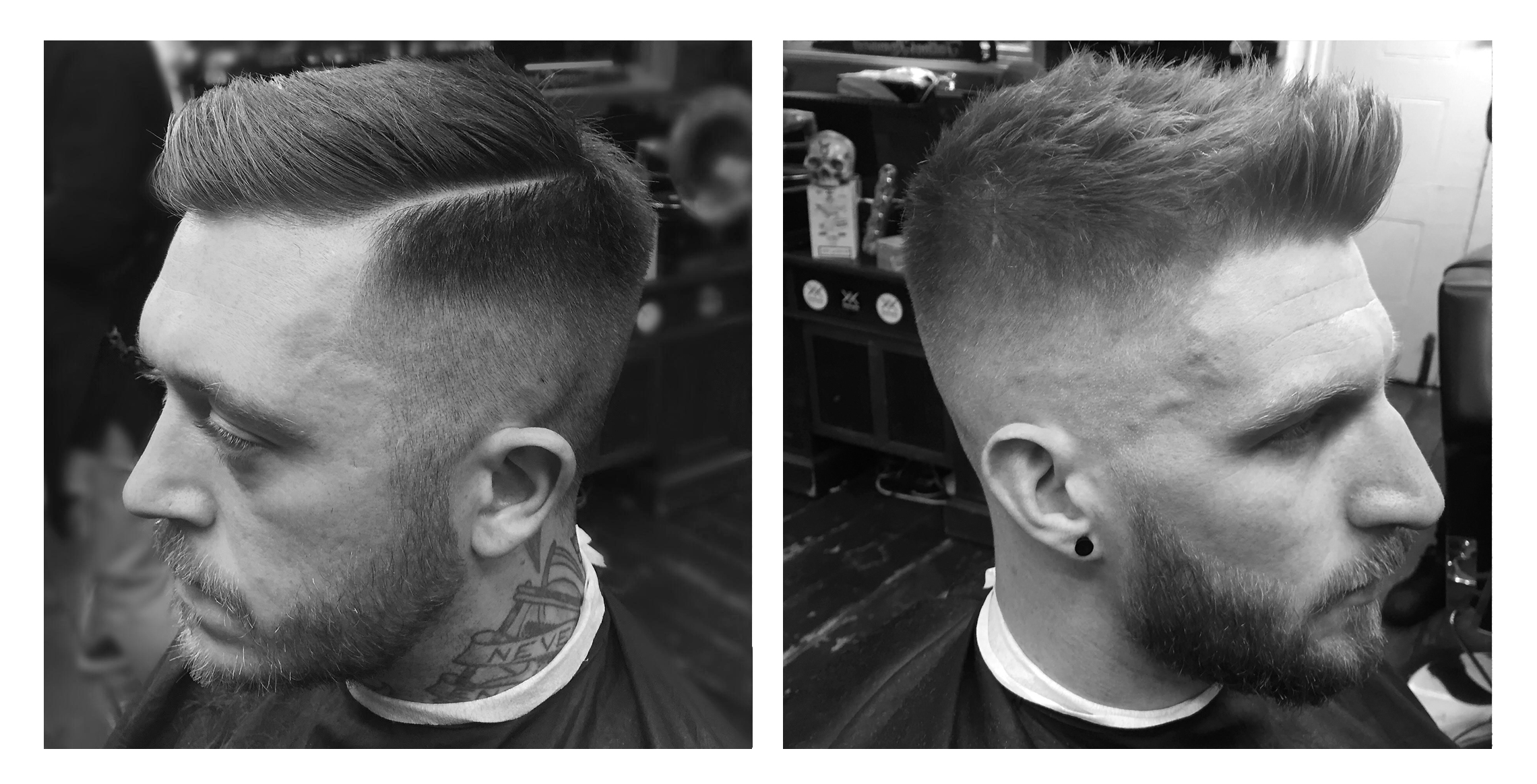 3.  Quite a heavy 1 fade, keeping it square with the head.. Hard part to keep it looking sharp.Point cut on top and styled with more of a matte finish product to keep a bit of texture.      4.Medium skin fade with a nice simple point cut on top with small quiff.. Styled w/ a matte product again to keep texture.