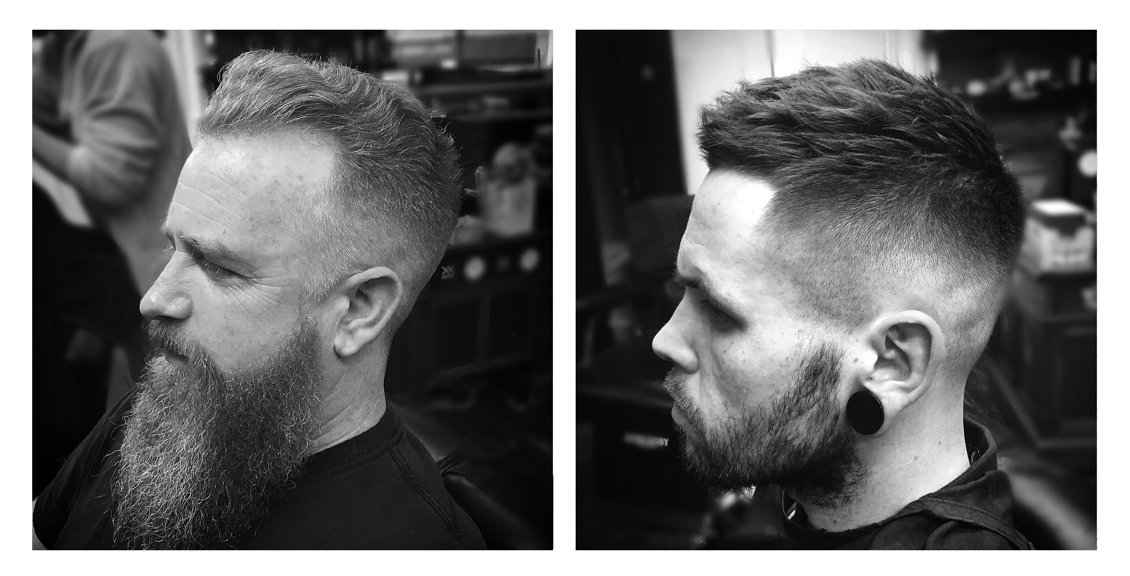 5.Small wavey pomp with a medium skin fade and beard shape.. Dried with medium heat, to not straighten out the waves and kept dry (no product).    6.High skin fade, fringe taken back to the hairline but left heavy and textured on top