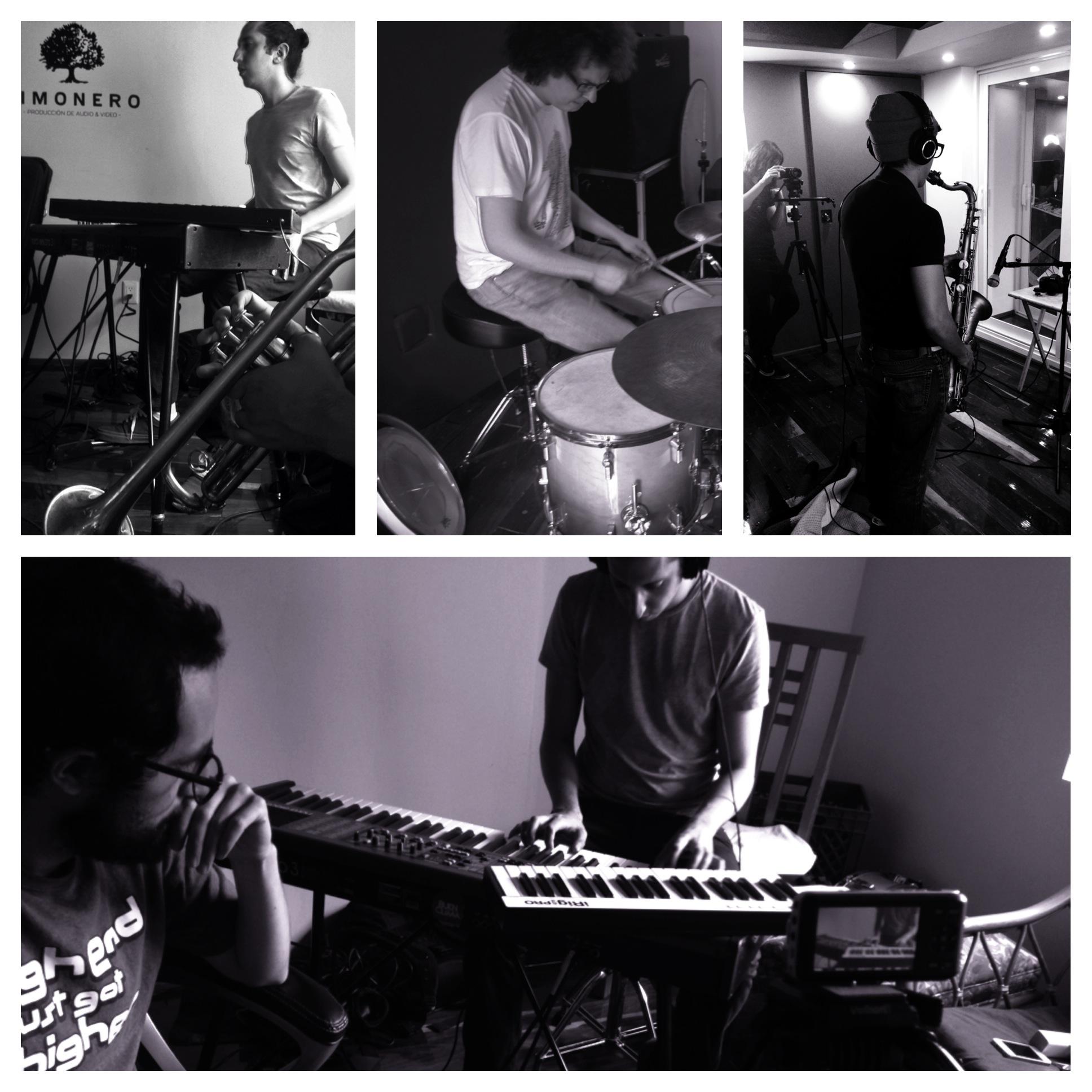 Sesión de grabación de Cumbé, en el Limonero Studio.