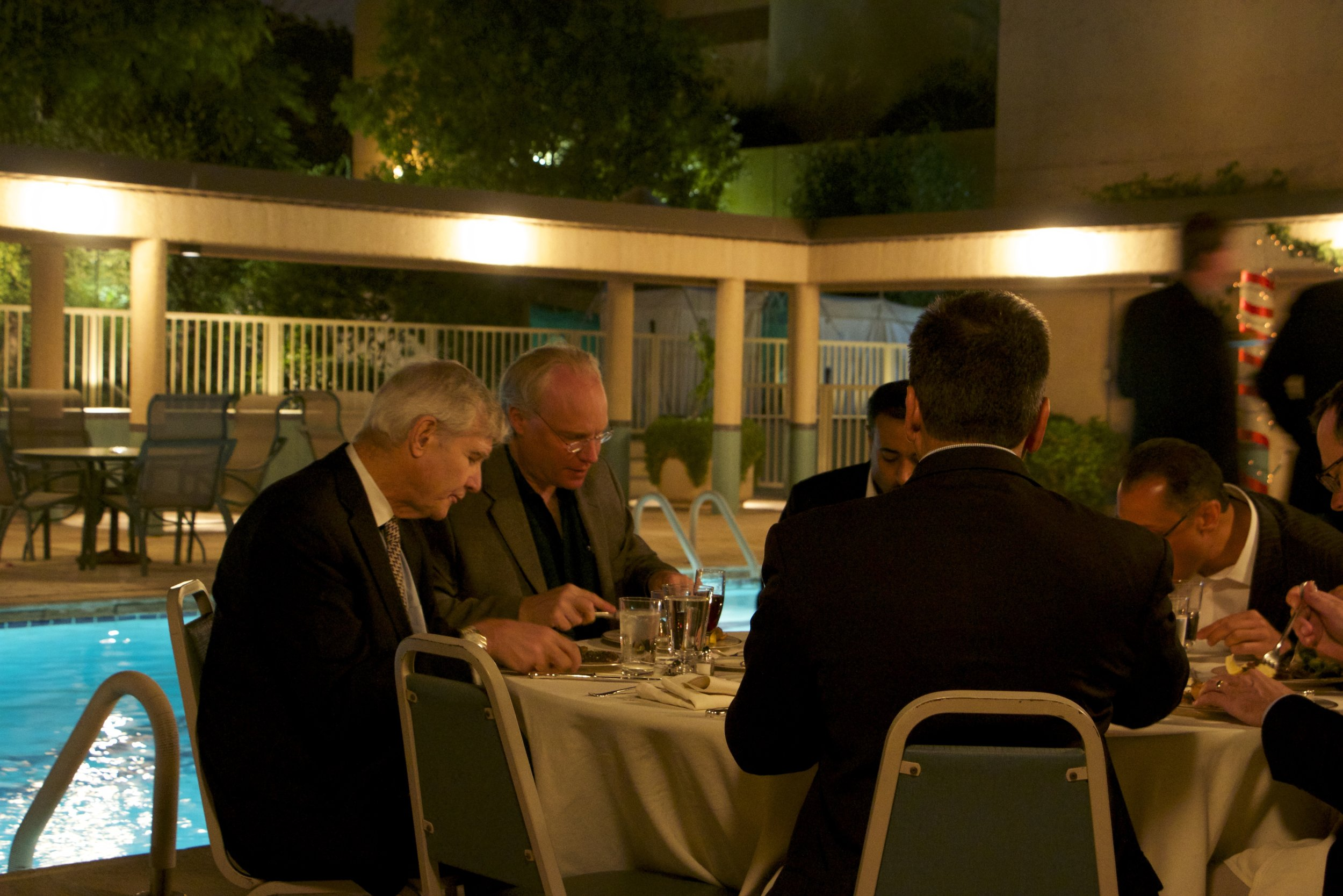 U.S. Delegates Enjoy Poolside Briefing at Ambassador's Residence