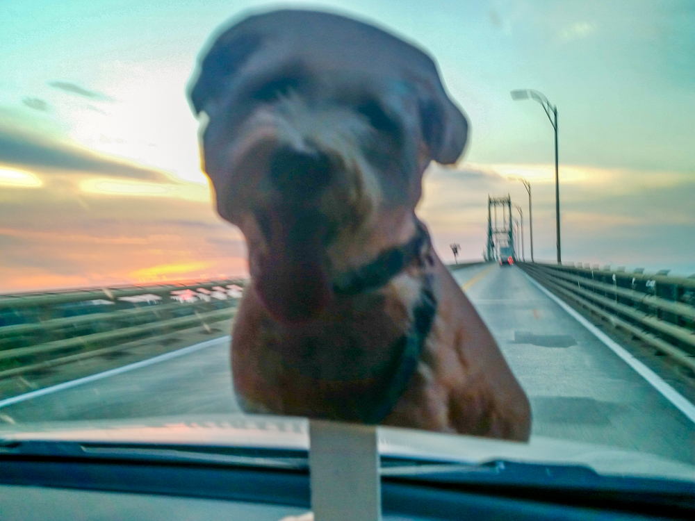 Crossing the 1000 Islands bridge at sunset