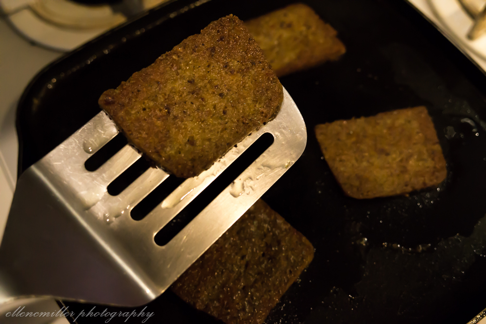 "Scrapple playing the part of the ""roast pork"""