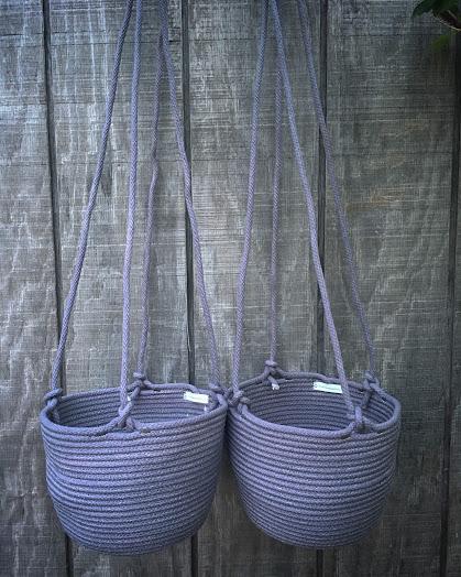 | | grey hanging planters | |