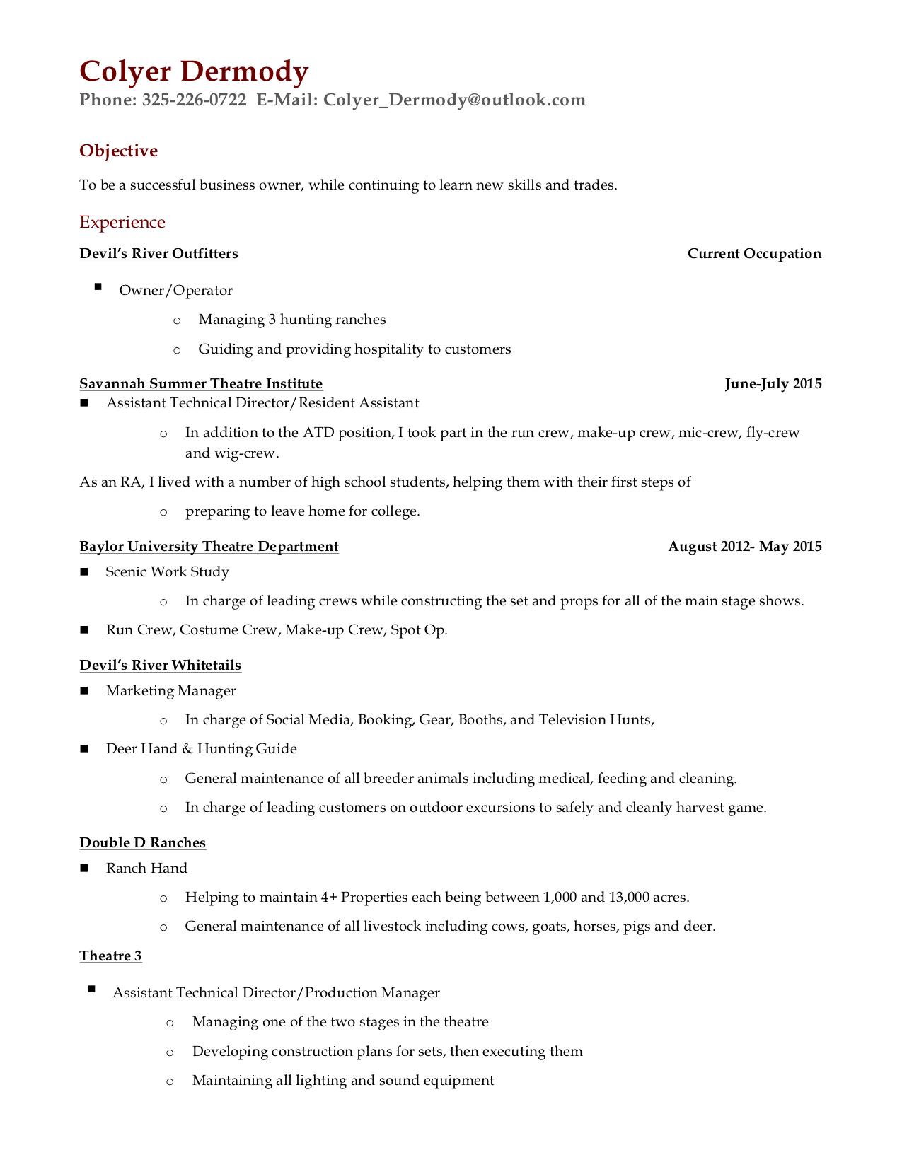 Resumes — Colyer Dermody