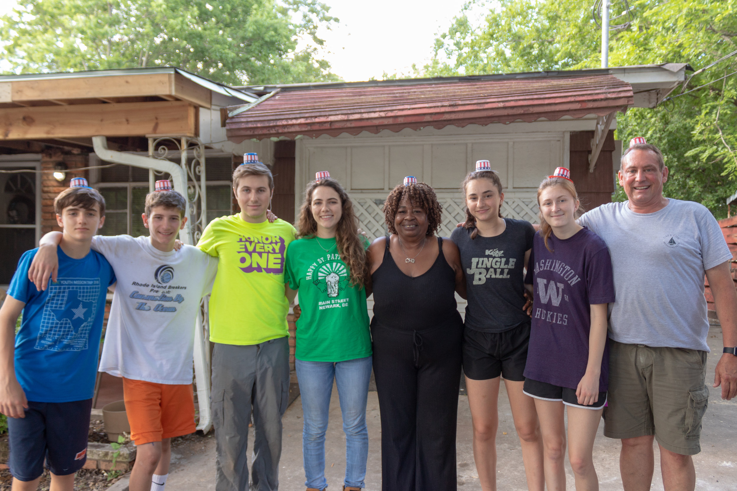 Mary and the team of volunteers working on her home.