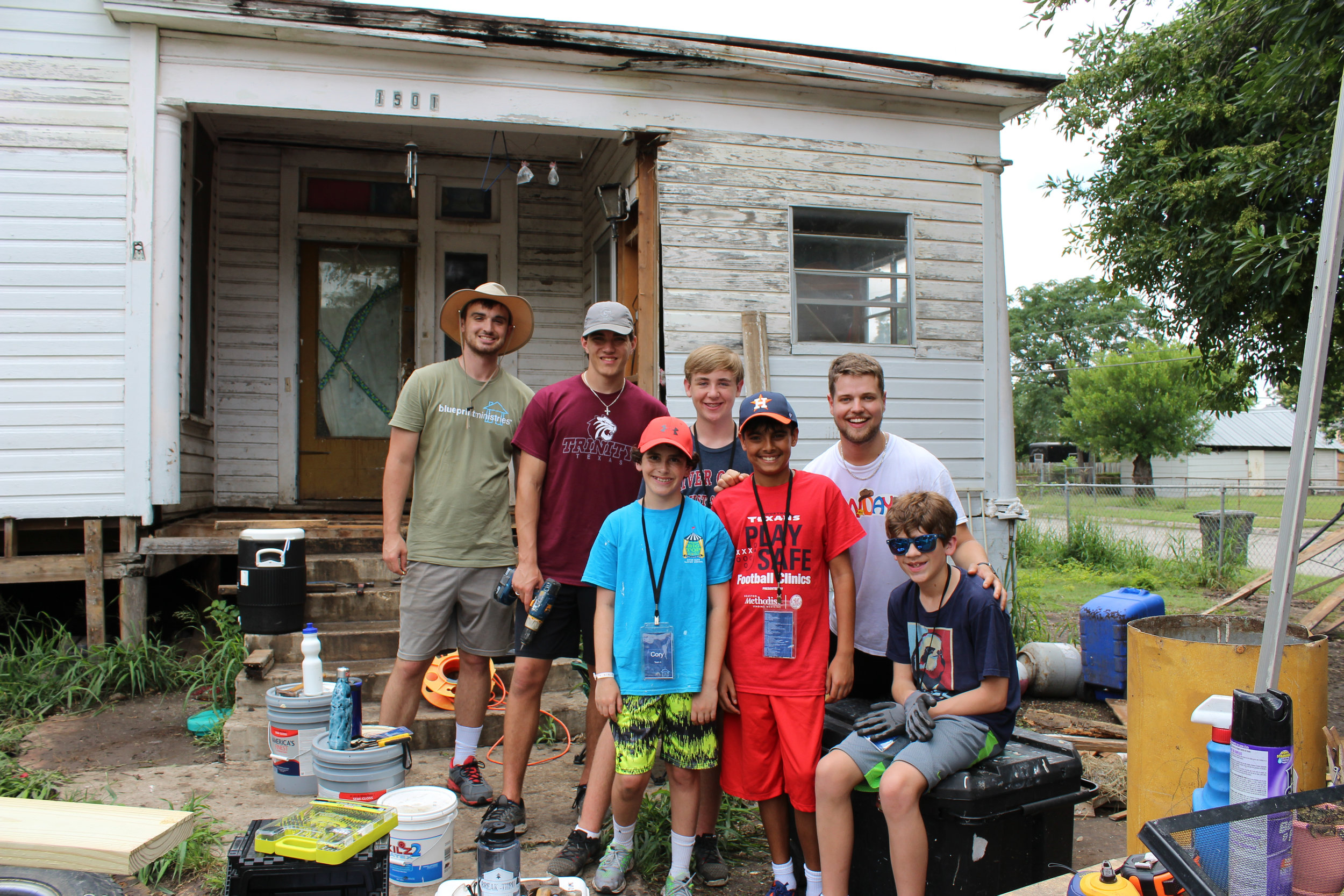 A group of students from Houston, TX working on Ms. Bakers home Summer 2017.