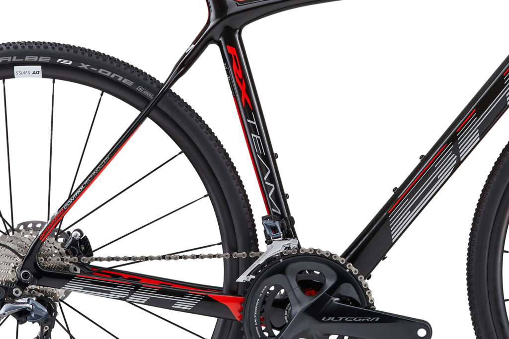 The fork and rear triangle has been widened to accommodate wider tires and mud clearance when conditions turn nasty.
