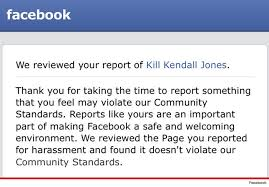 Facebook's response to a page calling for the senseless murder of a hunter being reported