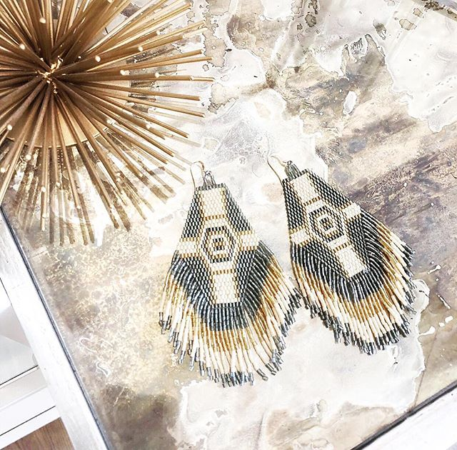 Everyone's favorite color in the Aztec Earrings are back in stock!!!!! They reflect grey and gold shimmery tones in the light ✨
