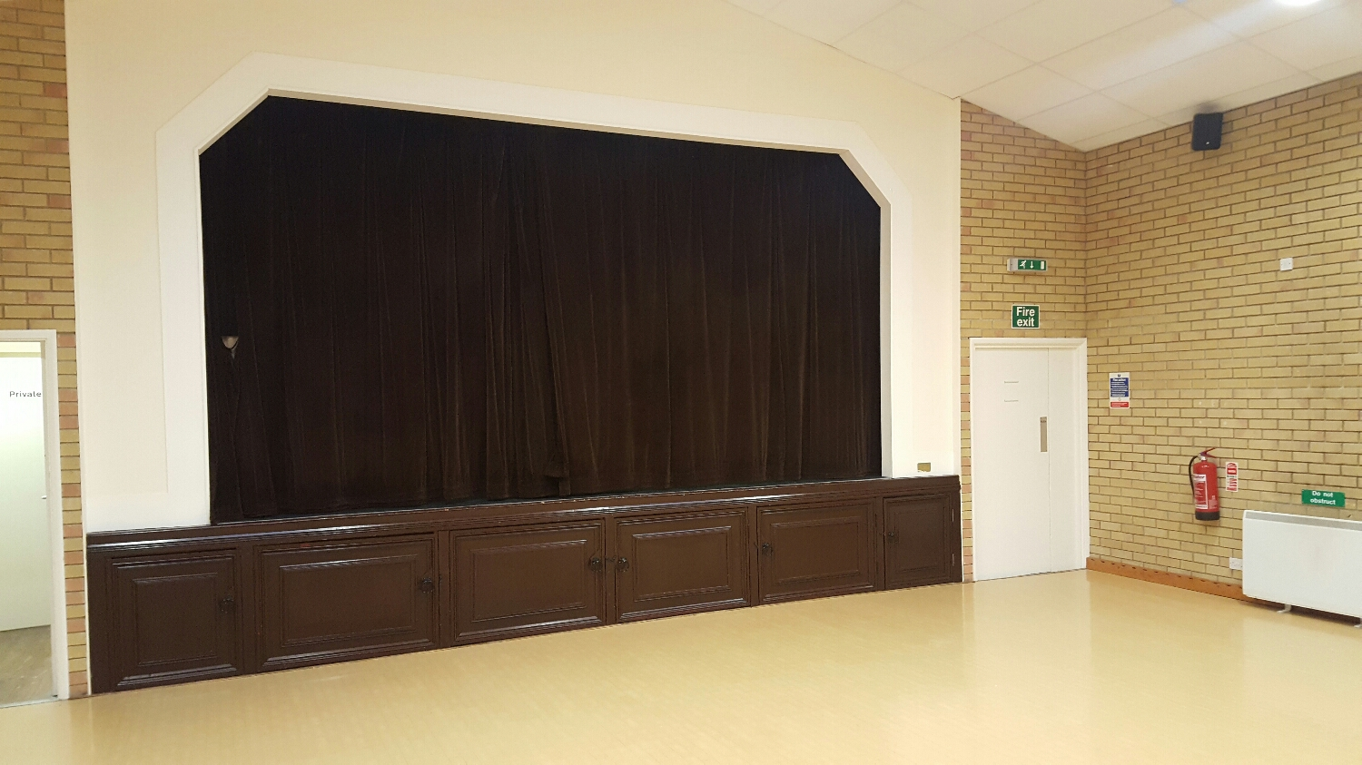 Main function room stage curtains and linings