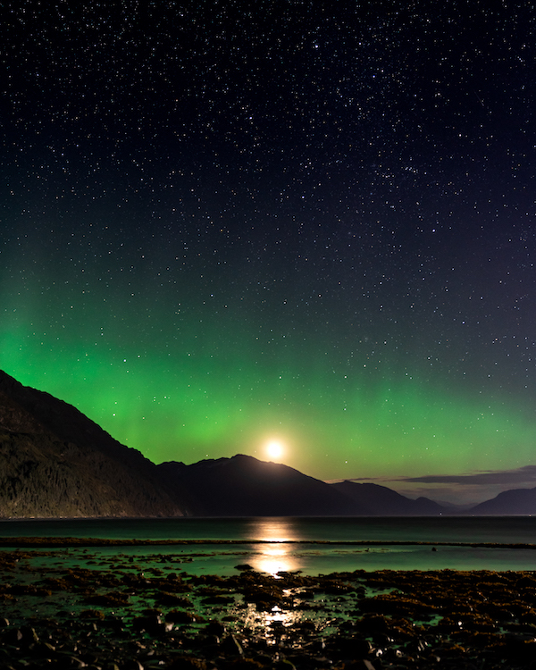 I took this photograph around 1am during our Alaska photo expedition. The Aurora Borealis on the Prince William Sound!