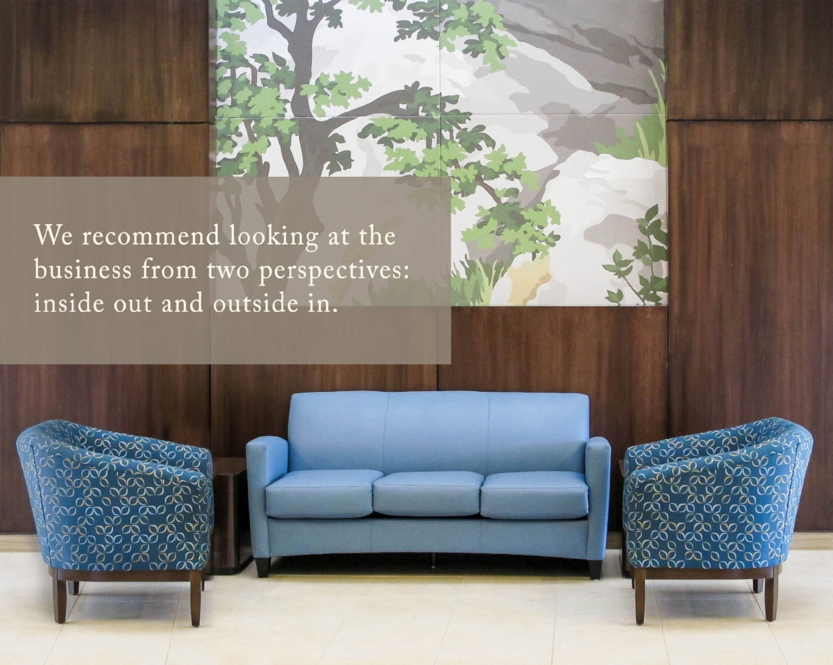 """We recommend looking at the business from two perspectives: inside out and outside in."" Lobby, HLSB, Shenandoah University, Photo: MakeNest"