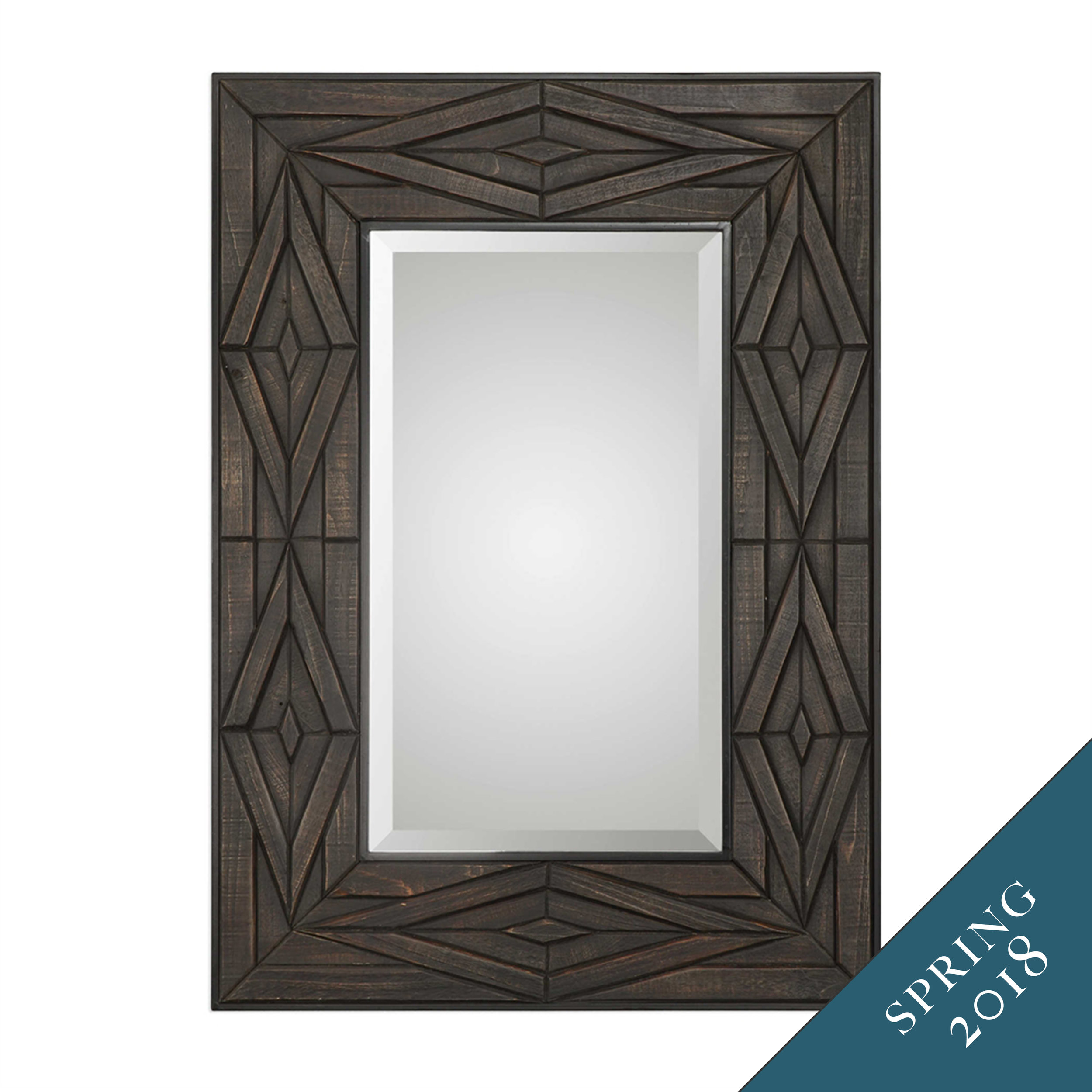Our Escher mirror is framed in hand-rubbed solid wood with metal accents.