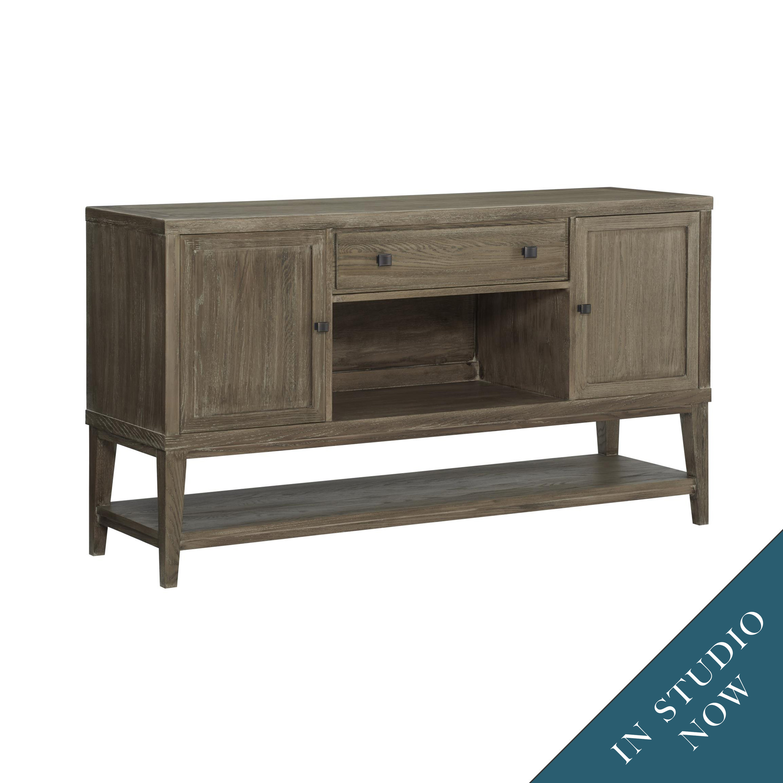 The washed taupe finish on our Halyard buffet is a perfect example of the warm-cool tones that I use in projects.