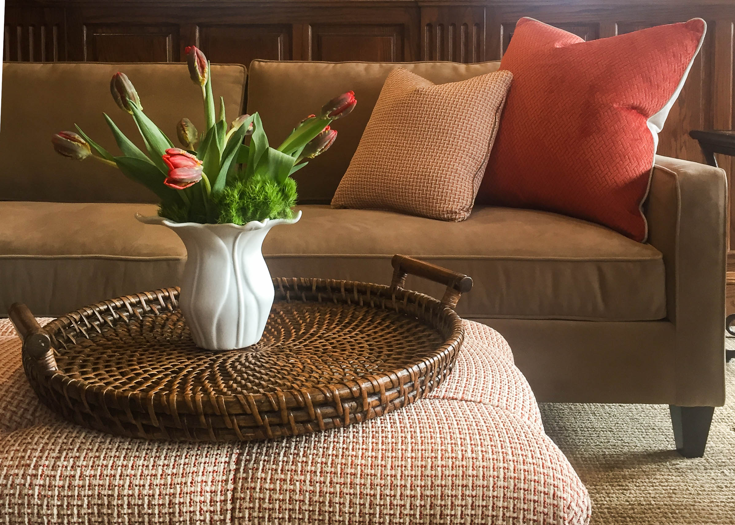 Showcasing North Carolina made upholstery here in our client's gathering room. We've put them together here in a posh pairing of hardworking velvet and a colorful woven.