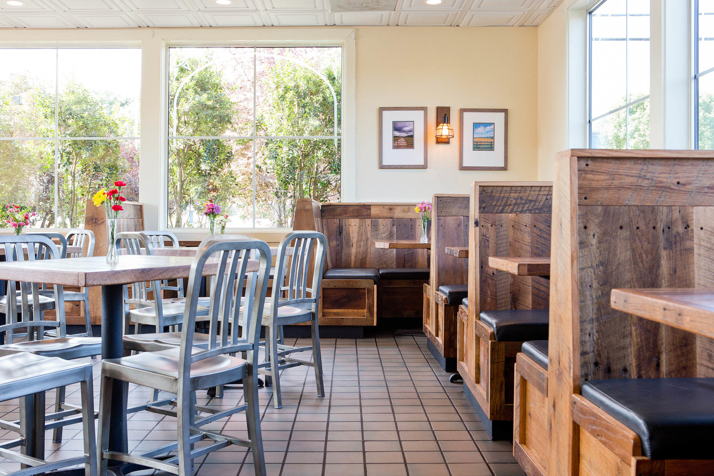 It was a joy to take this project at  Spelunkers , a family-owned burger joint, in Front Royal, VA. With a sunny atmosphere and excellent local food, it seemed fitting to design a space as warm and charming as the local fixture's delightful reputation.