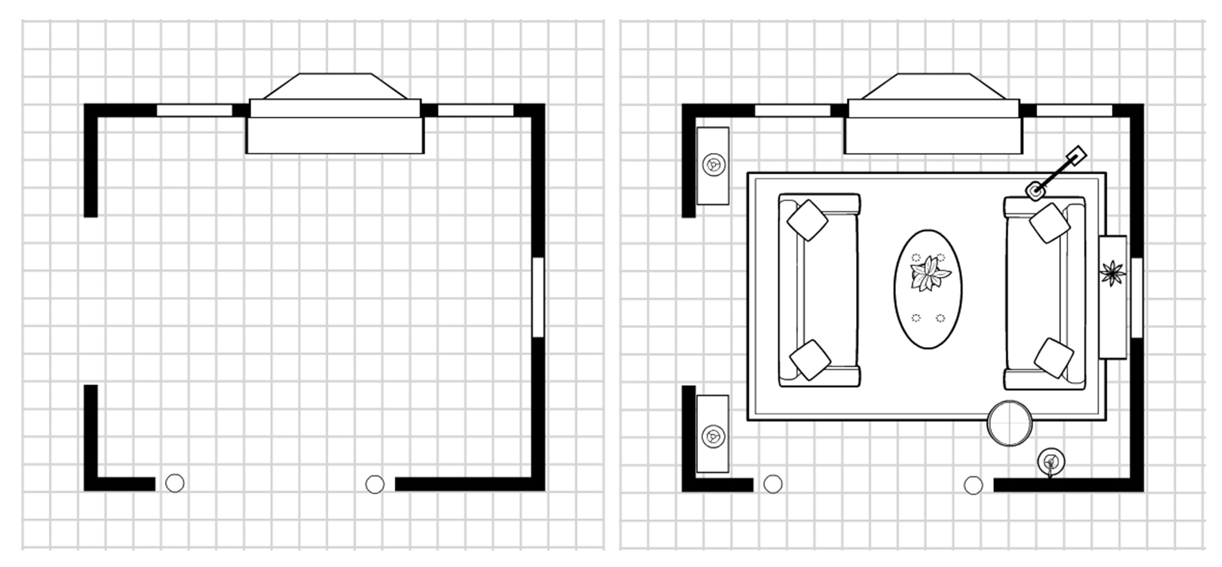 Left , the unfurnished layout and,  right , the version I proposed.