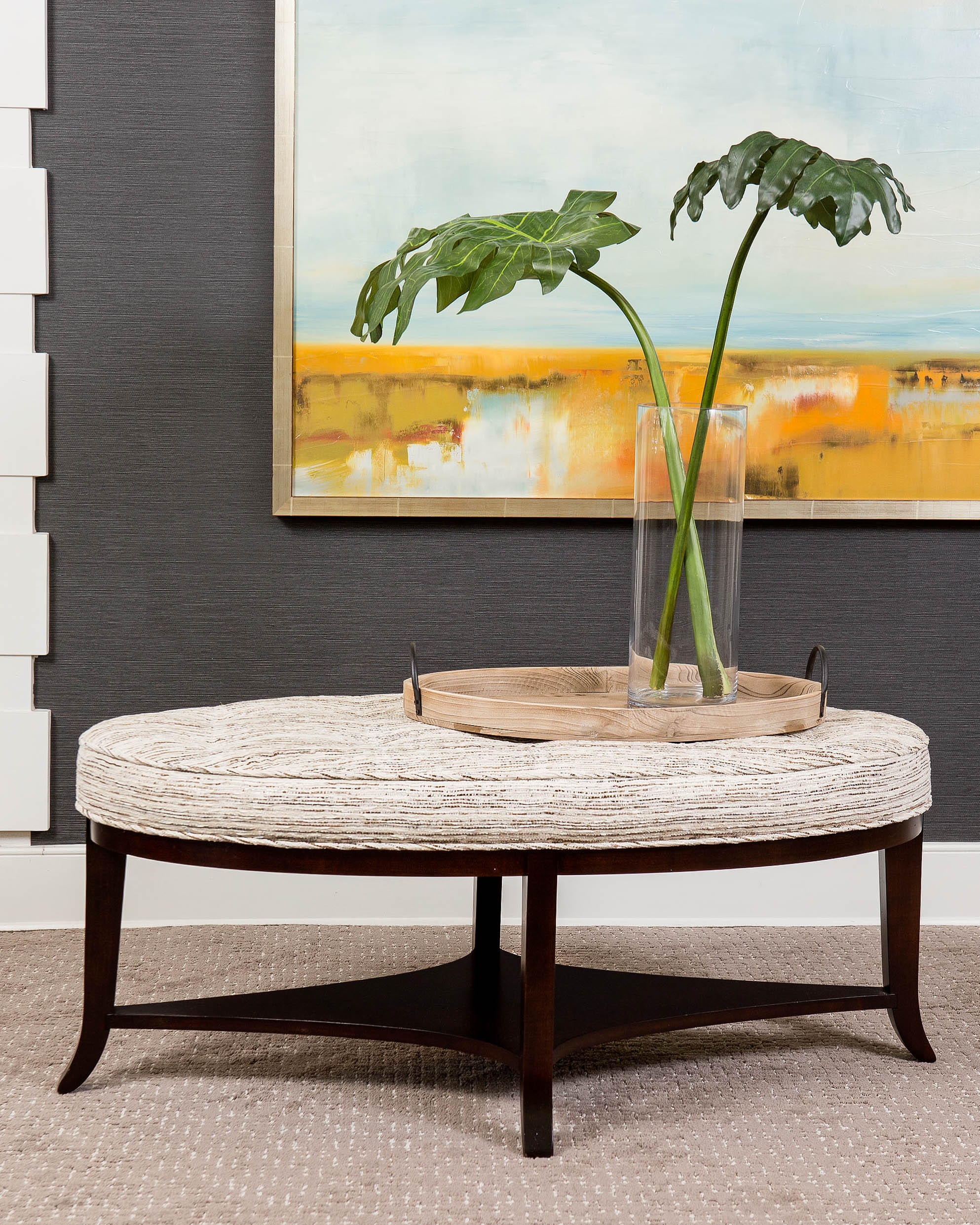 """""""Customization is essential to my design work. Doing double duty as ottoman and coffee table, our new Eva frame comes in three base options and hundreds of fabric and finish options. With one piece, I am able to solve numerous design problems while achieving something fresh for each project."""""""