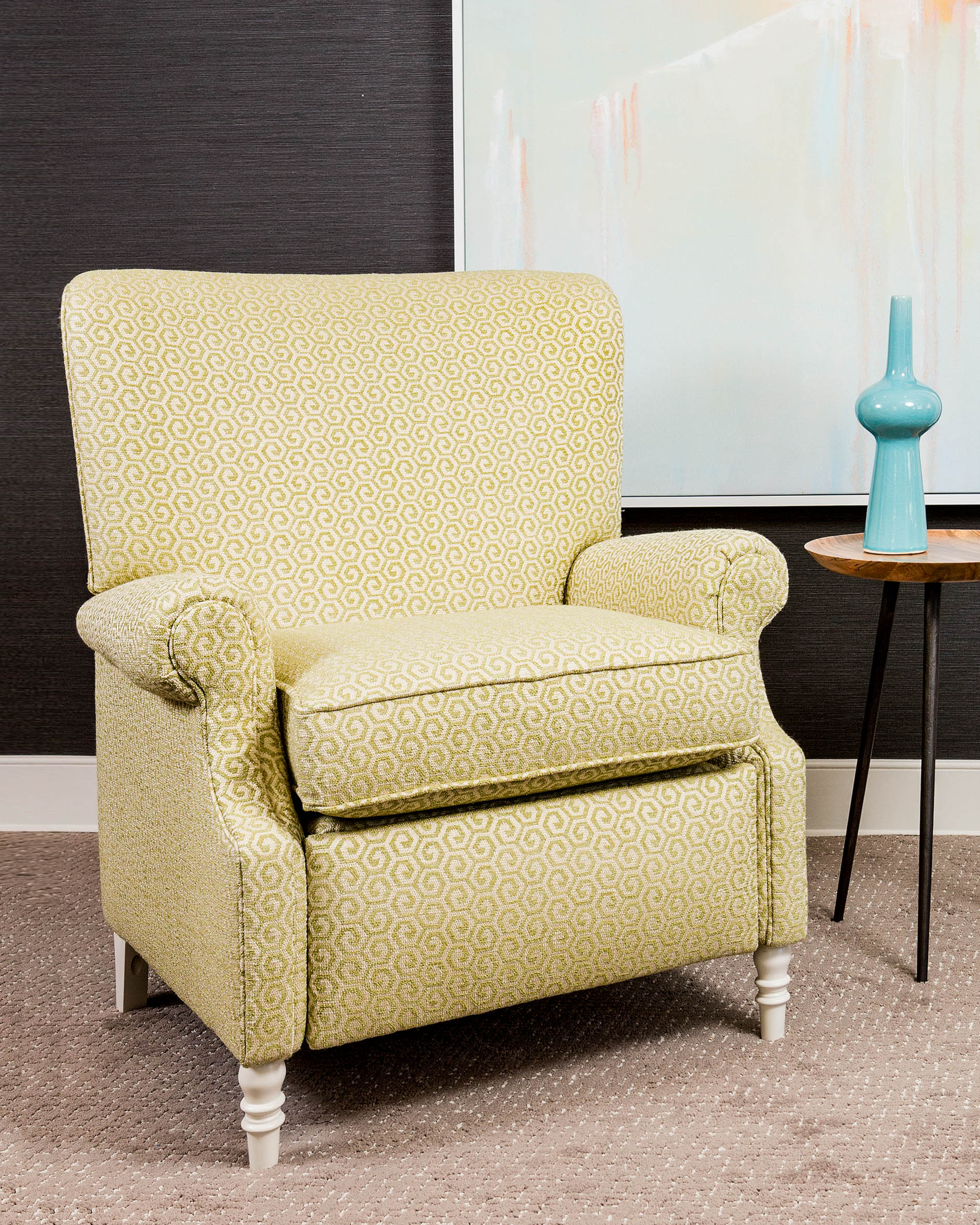 """""""Design must be comfortable to be successful. The Harper chair joins our Nestology collection for 2019 because beneath its classic clubby good looks a recliner waits to offer comfort with the touch of a button."""" - Paul Miller, Lookbook 2019"""