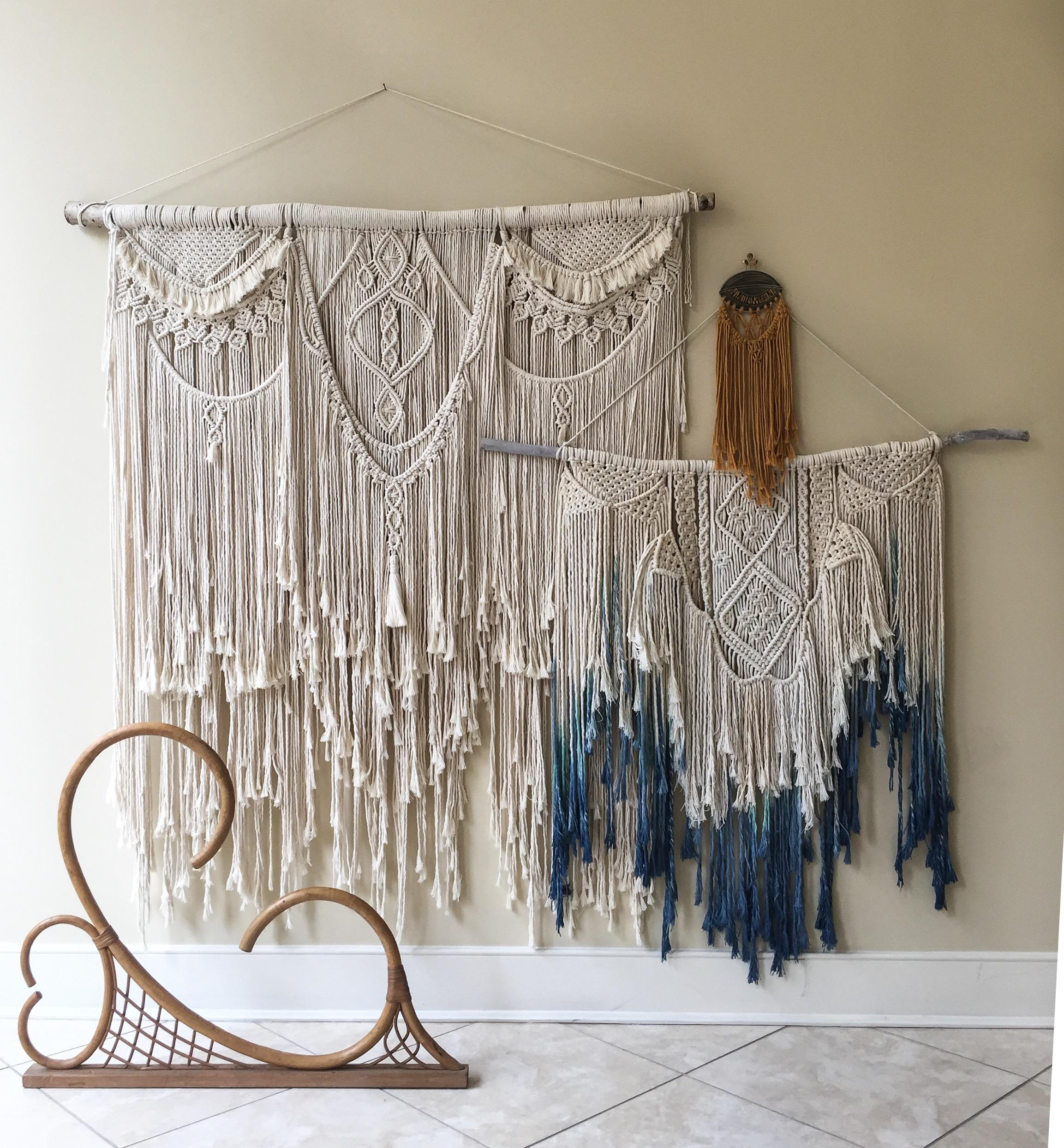 Layered macrame fiber art from Fiber Feels' Leah, a local Winchester, VA artist.