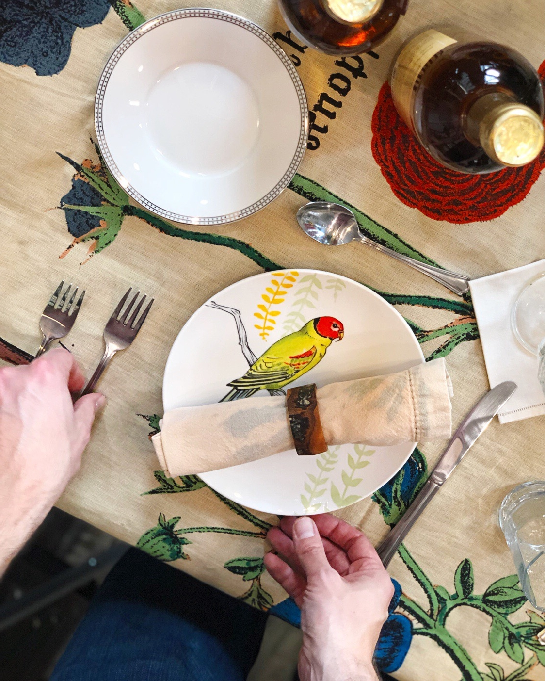 Bird plates and fancy china at the same table. Mix and match bohemian style makes a formal table or event more approachable and fun. When you let go of the rules, your guests will have a great time.