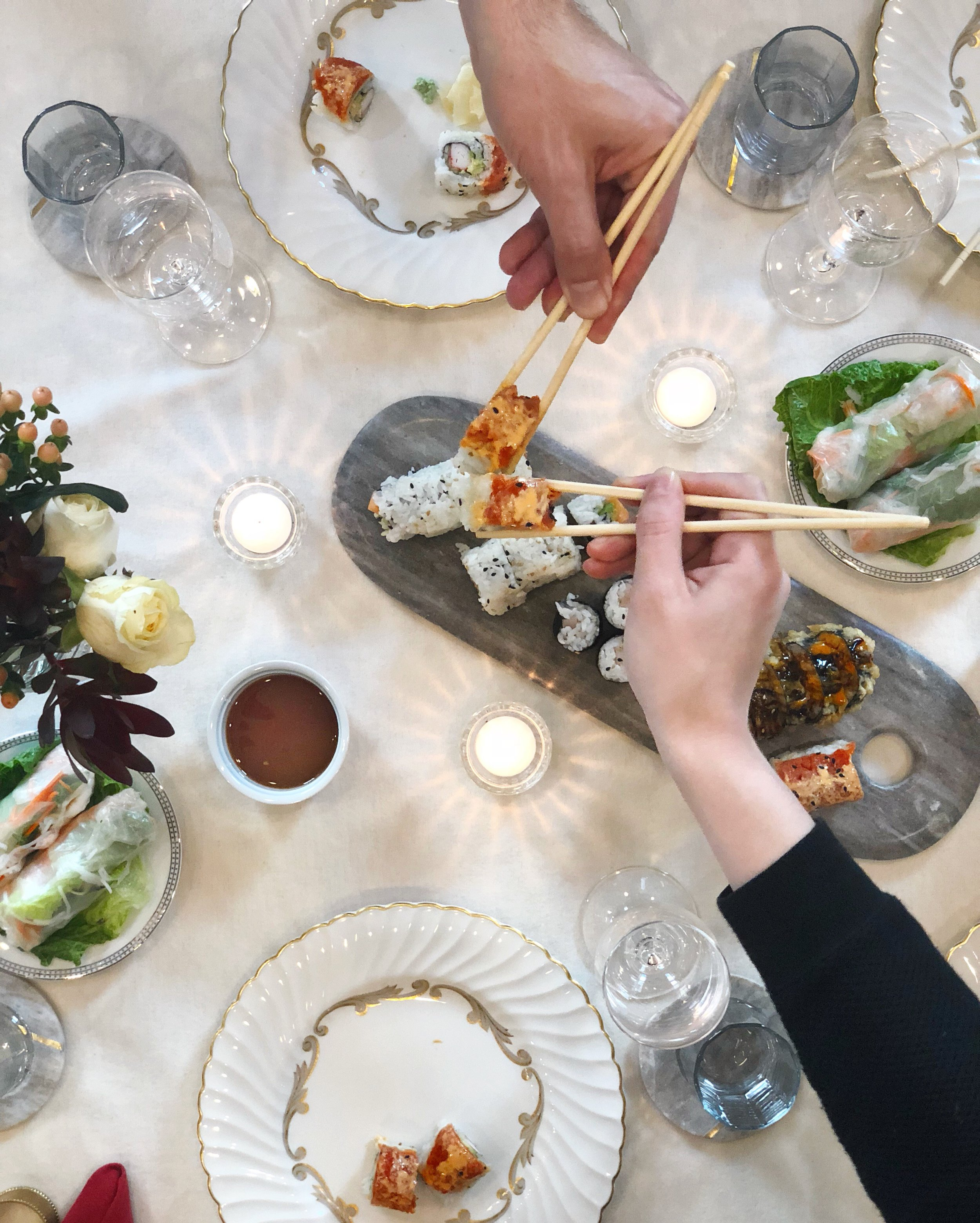 Go all out in maximalist style. How to throw a no-stress dinner or lunch party for good friends. The best no cook dinner party on fancy special bone wedding china.