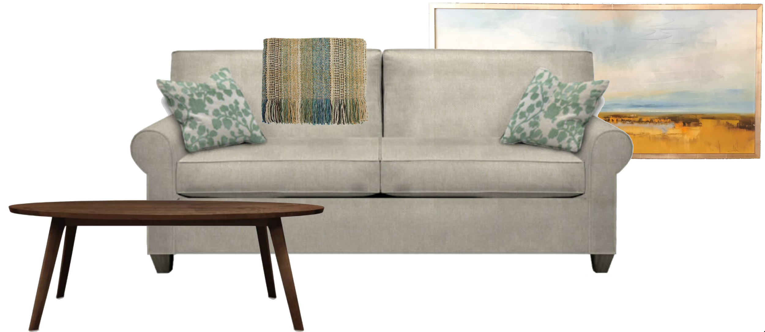 Furniture from left to right: Walnut table (Vermont), Knotting Hill sofa, Nestology collection (Ohio), Stripe knit throw (New Hampshire). More customization options available.