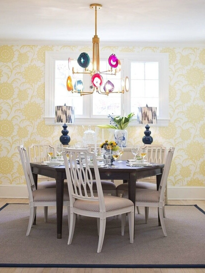 Here, both flexibility and drama were important. A bold and happy yellow medallion floral reflects the daytime energy. But, when the sun sets and the interior lights flick on, the shadows play handsomely on the walls.  See more of Stewart Street…